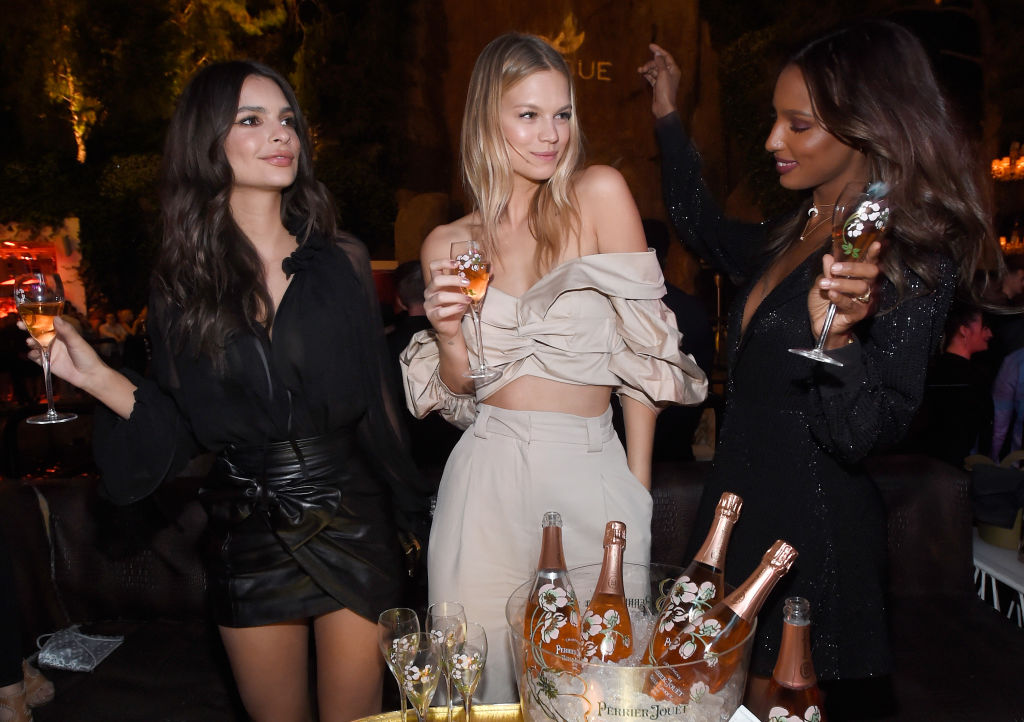 (L-R) Model/actress Emily Ratajkowski, models Nadine Leopold and Jasmine Tookes celebrate Intrigue Nightclub's One-Year Anniversary party hosted by Perrier-Jouet at Wynn Las Vegas on April 28, 2017 in Las Vegas, Nevada. (Photo by David Becker/Getty Images for Wynn Las Vegas)