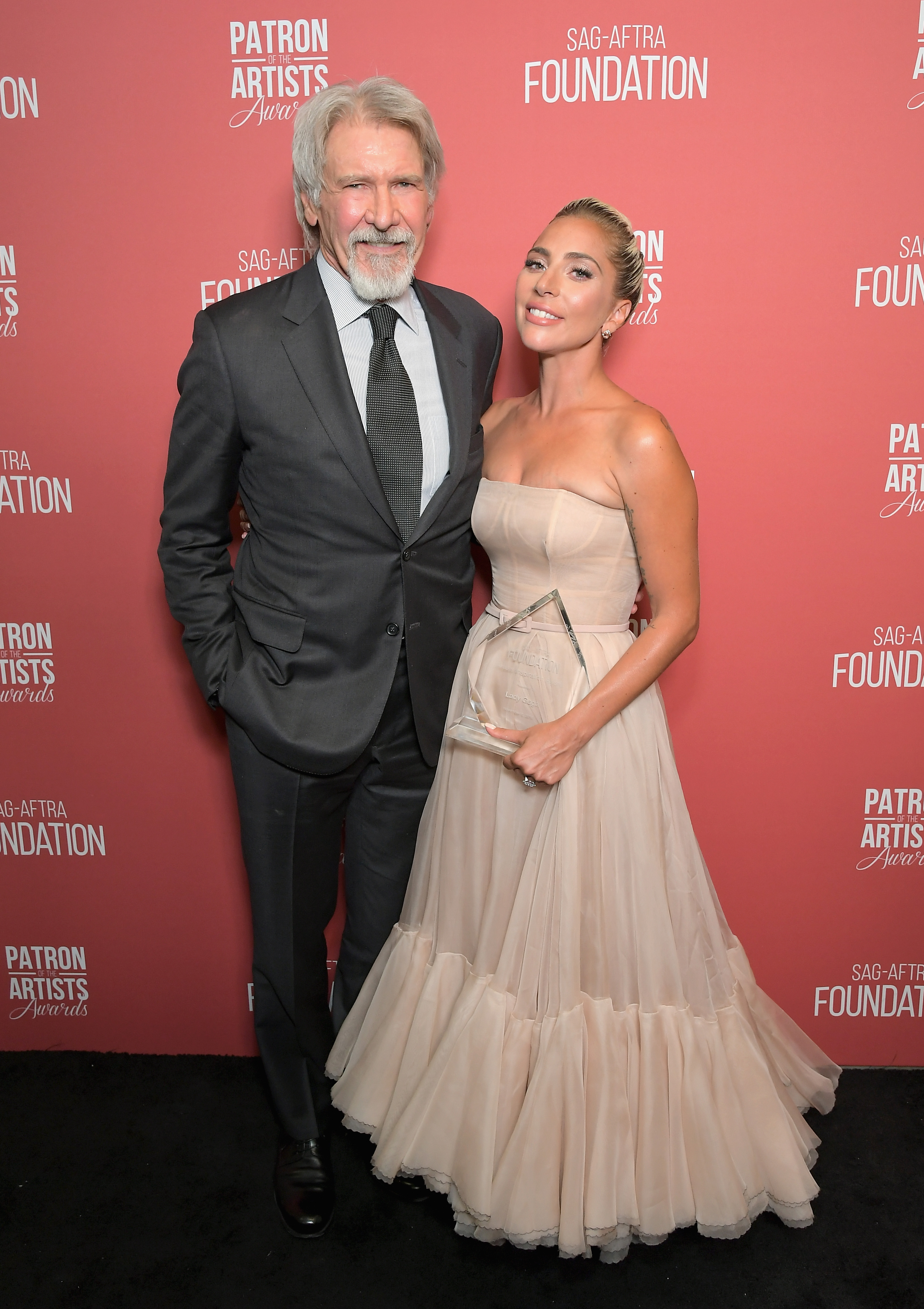 Artists Inspiration Award recipients Harrison Ford and Lady Gaga attend the SAG-AFTRA Foundation's 3rd Annual Patron of the Artists Awards at the Wallis Annenberg Center for the Performing Arts on November 8, 2018 in Beverly Hills, California.