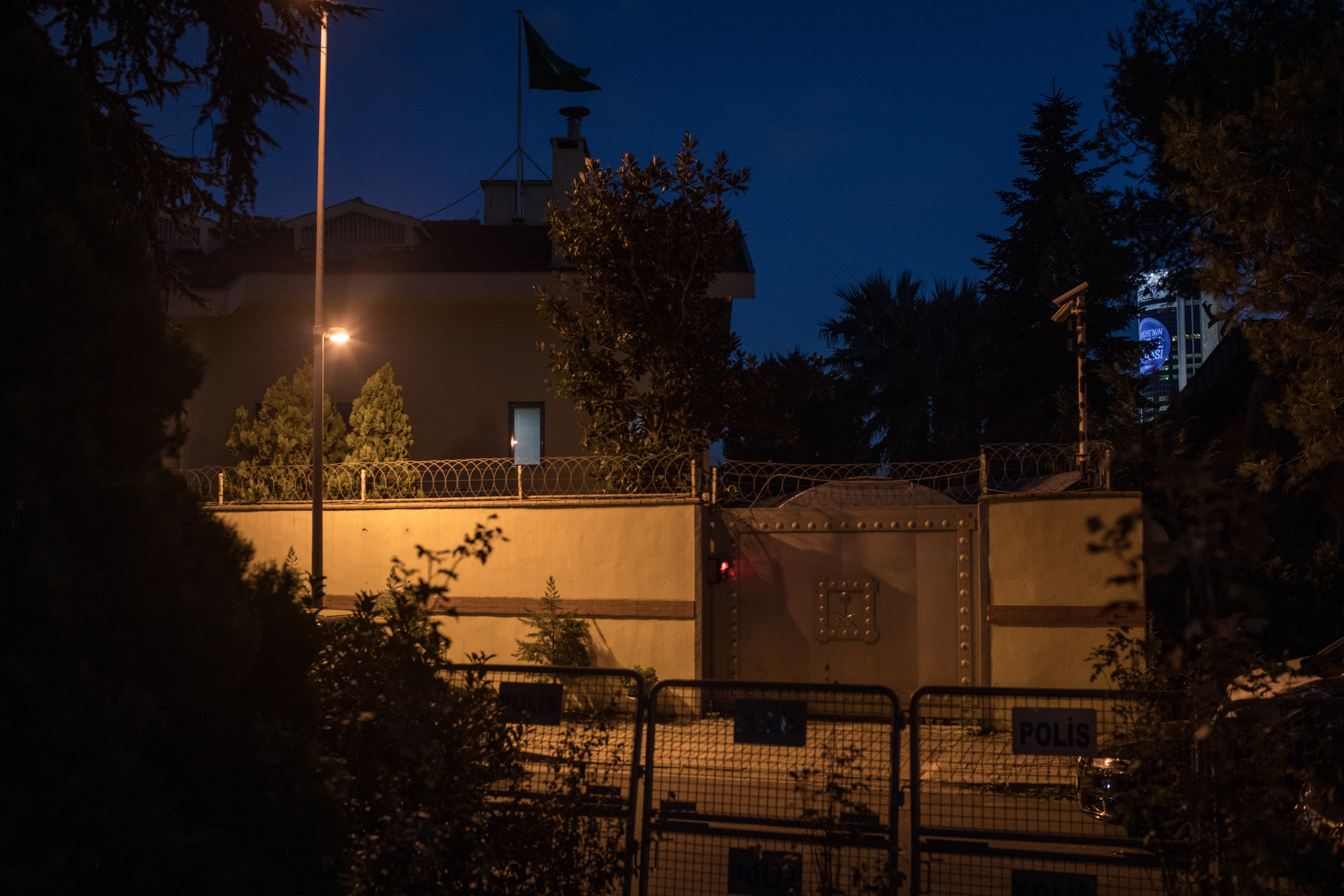 The entrance gate of the Saudi Arabian Consulate is seen on October 7, 2018 in Istanbul, Turkey. Fears are growing over the fate of missing journalist Jamal Khashoggi after Turkish officials said they believe he was murdered inside the Saudi consulate.
