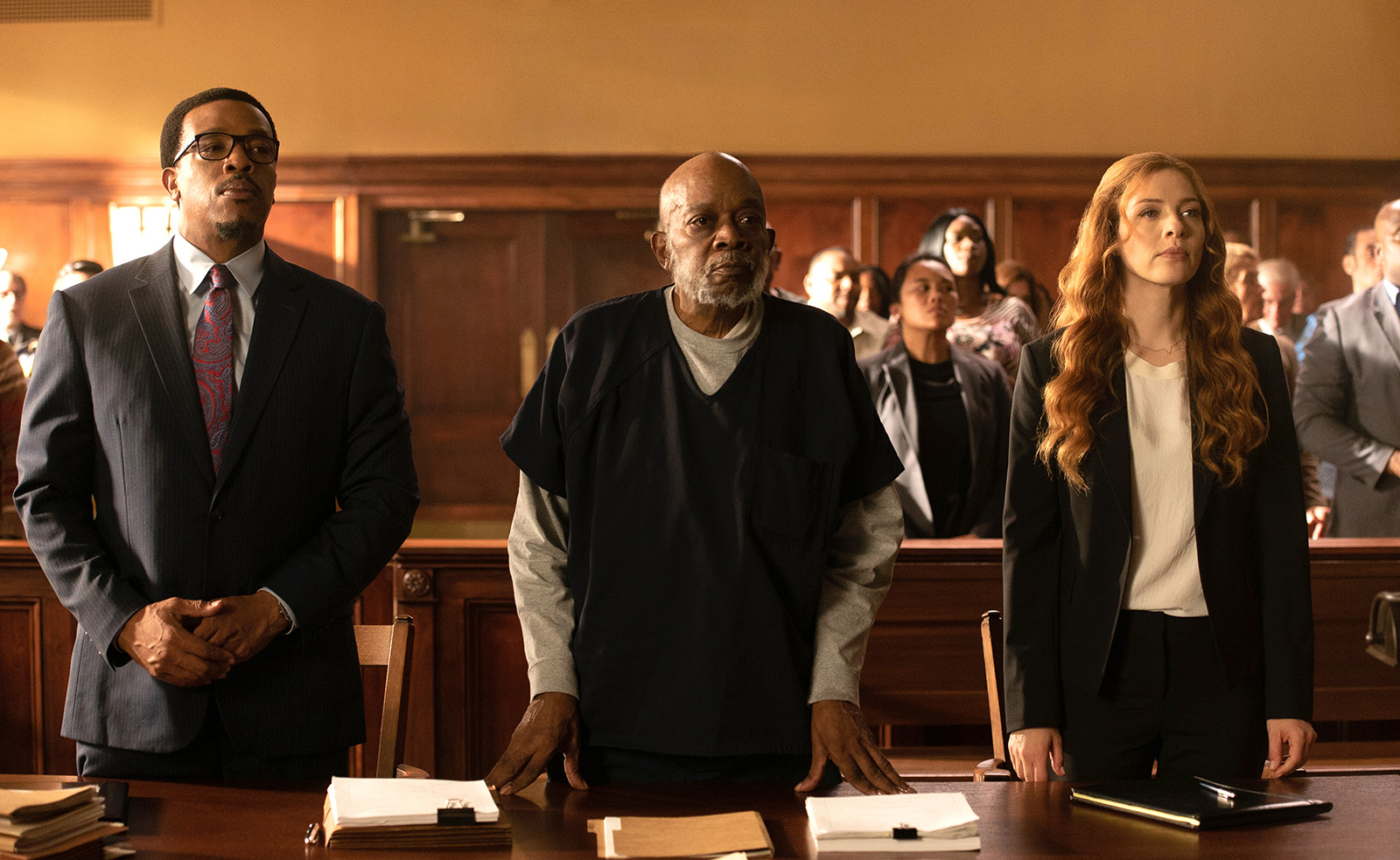 Russell Hornsby, Ernest Perry Jr. and Rachelle Lefevre in the premiere episode of 'Proven Innocent' (Fox)