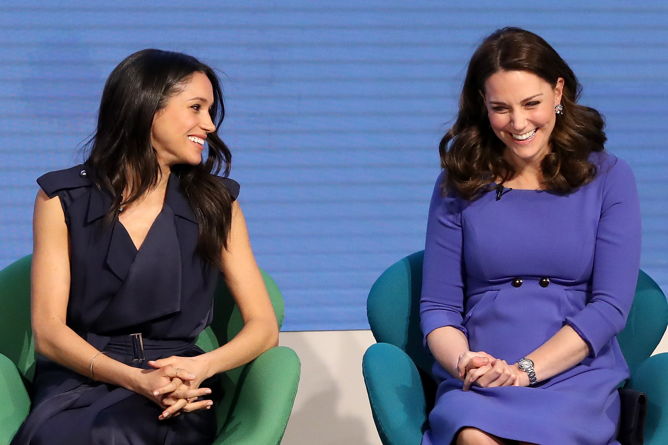 Meghan Markle, Duchess of Sussex, and Catherine, Duchess of Cambridge, attend the first annual Royal Foundation Forum held at Aviva on February 28, 2018, in London, England. (Getty Images)