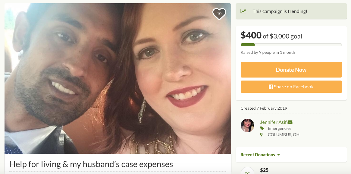 A GoFundMe page set up by Jennifer Asif to assist the couple. (GoFundMe)