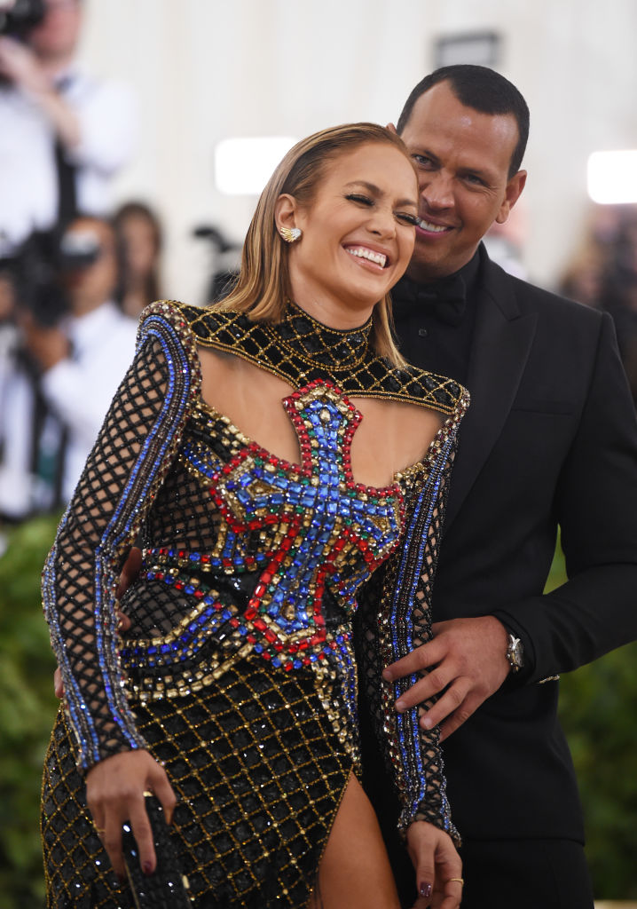 Jennifer Lopez and Alex Rodriguez attend the Heavenly Bodies: Fashion & The Catholic Imagination Costume Institute Gala at The Metropolitan Museum of Art on May 7, 2018, in New York City. (Photo by Jamie McCarthy/Getty Images)