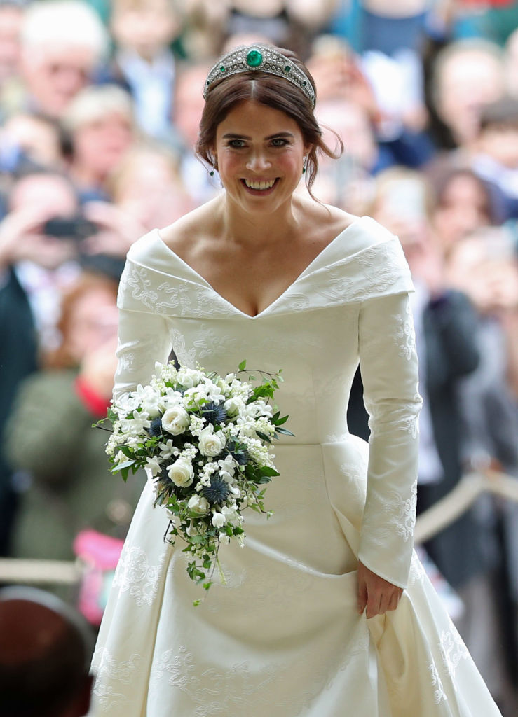 Princess Eugenie of York arrives at St George's Chapel for her wedding to Jack Brooksbank in Windsor Castle on October 12, 2018, in Windsor, England. (Getty Images)