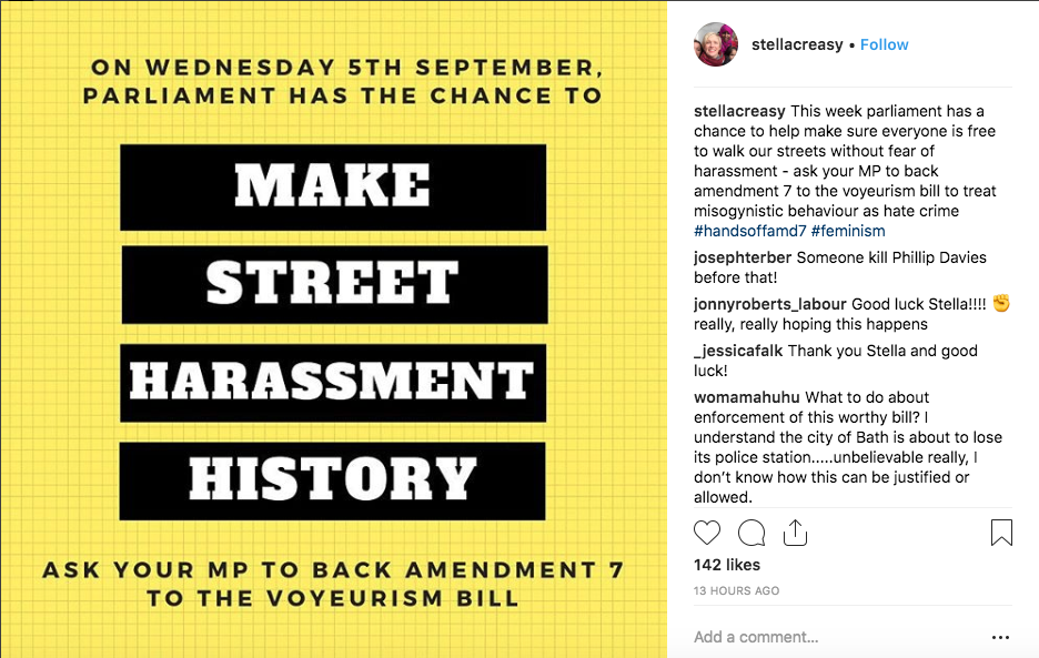 Stella Creasy posted about her initiative on Instagram