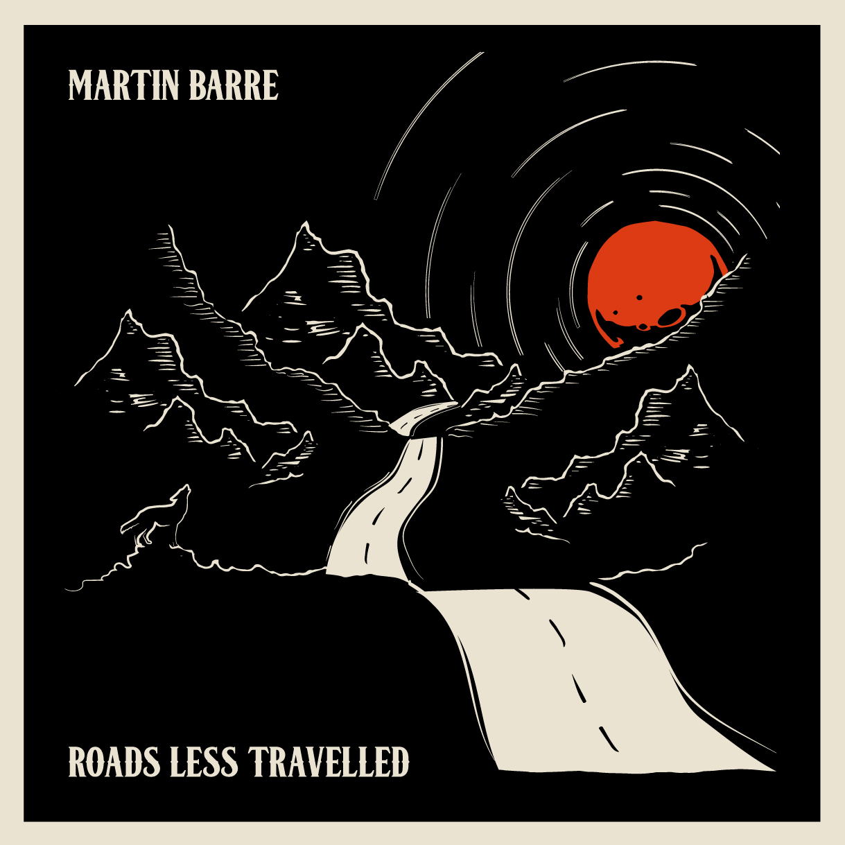 Album art for Martin Barre's upcoming sixth solo album 'Roads Less Travelled'.