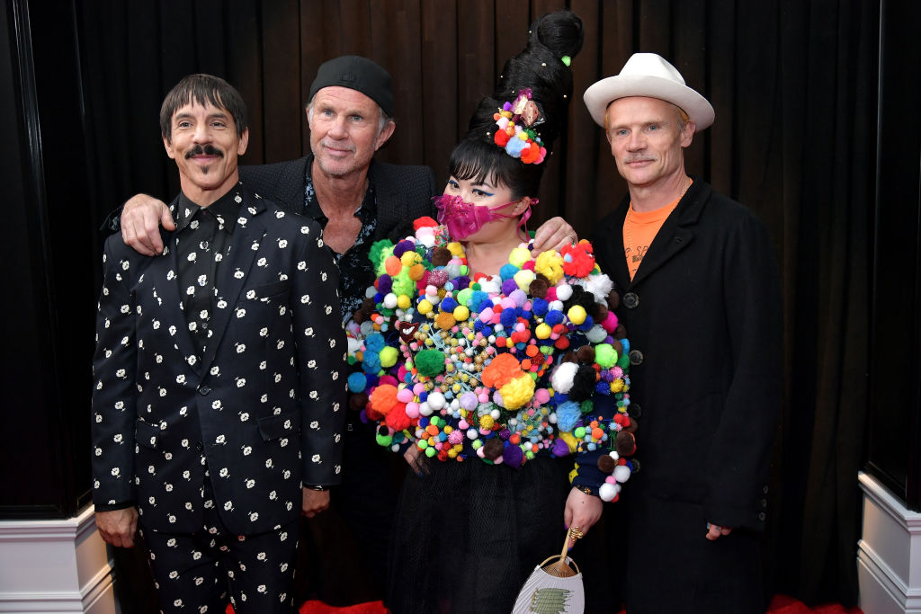 Anthony Kiedis, Chad Smith, and Flea of Red Hot Chili Peppers with Du Yen at the 61st Annual GRAMMY Awards. (Getty Images)