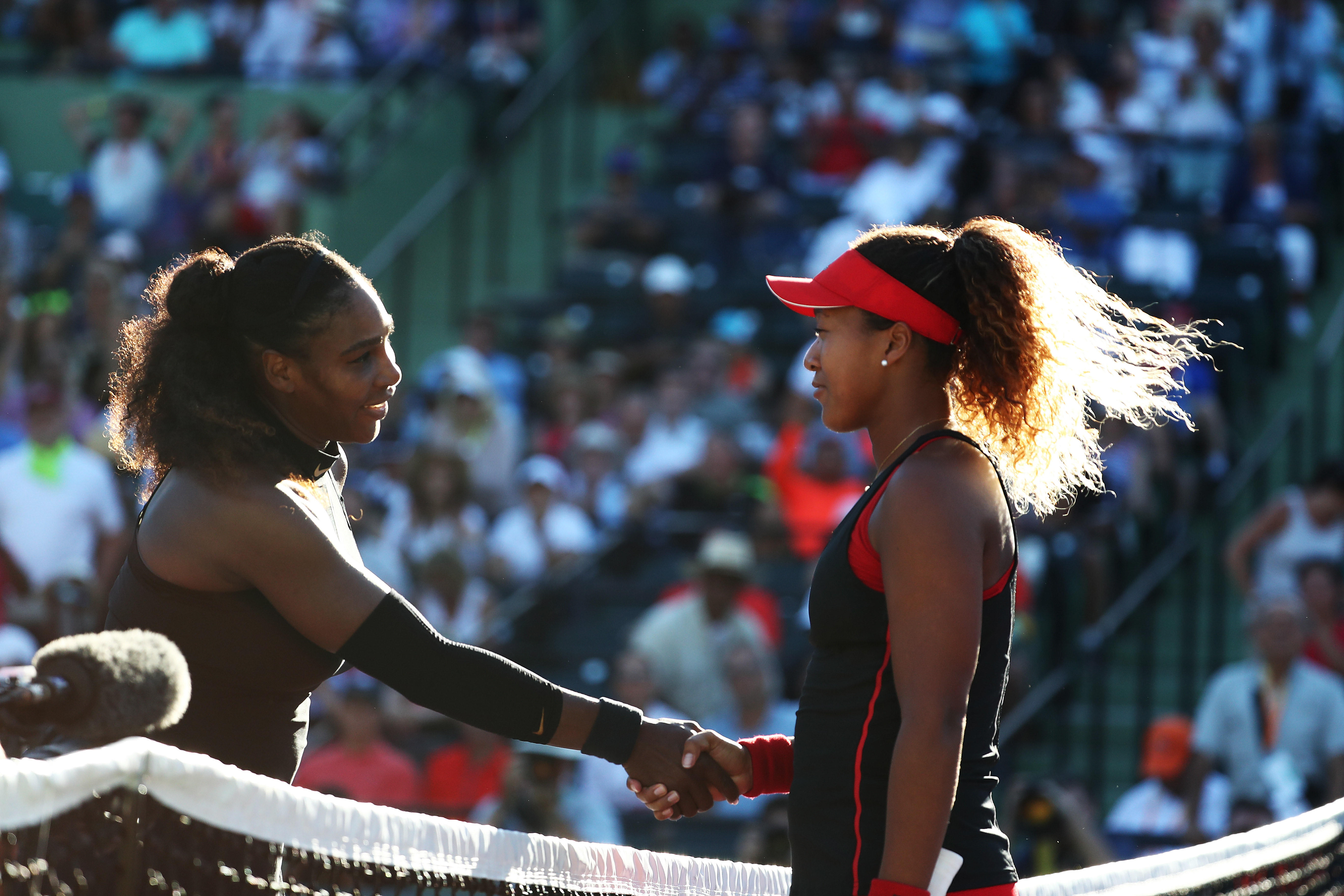Serena Williams meets Naomi Osaka of Japan after losing to her in straight sets during Day 3 of the Miami Open at the Crandon Park Tennis Center on March 19, 2018, in Key Biscayne, Florida (Getty Images)