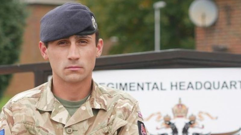 Trooper Ross Woodward, 1st Queen's Dragoon Guards, is being recognised for his bravery when confronted with a mass shooting in Las Vegas in October last year. (Source: MOD)
