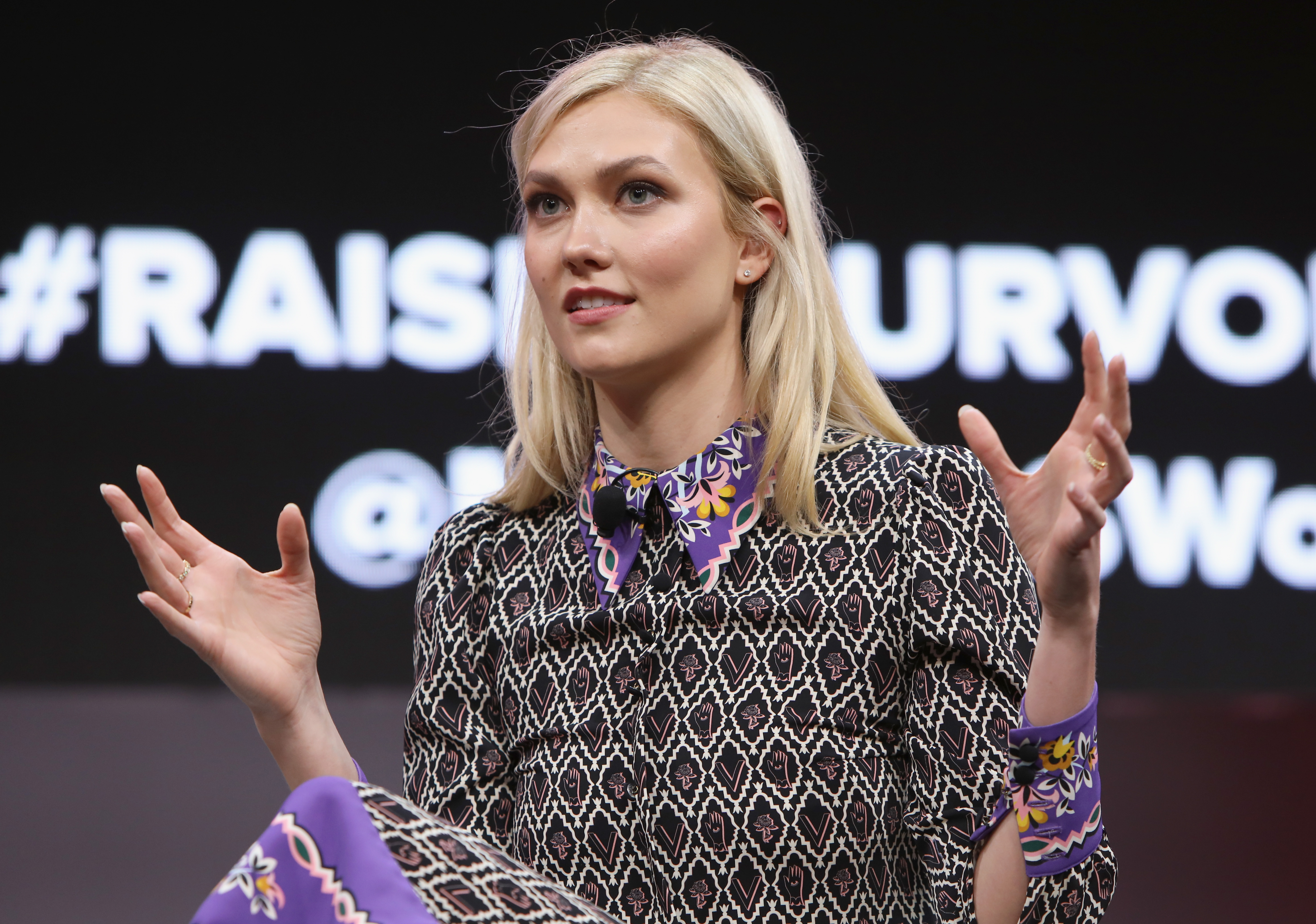 Karlie Kloss speaks onstage during The 2018 MAKERS Conference at NeueHouse Hollywood on February 6, 2018 in Los Angeles, California.