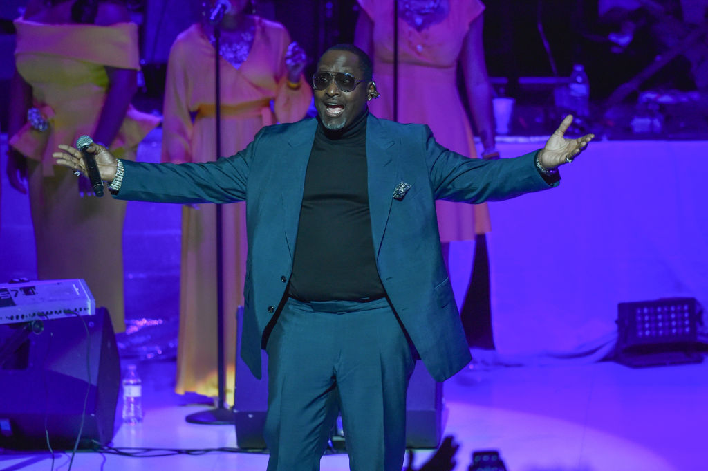 Singer Johnny Gill performs on stage at a Tribute Concert to celebrate the life of songstress Aretha Franklin at Chene Park on August 30, 2018 in Detroit, Michigan. (Photo by Aaron J. Thornton/Getty Images)