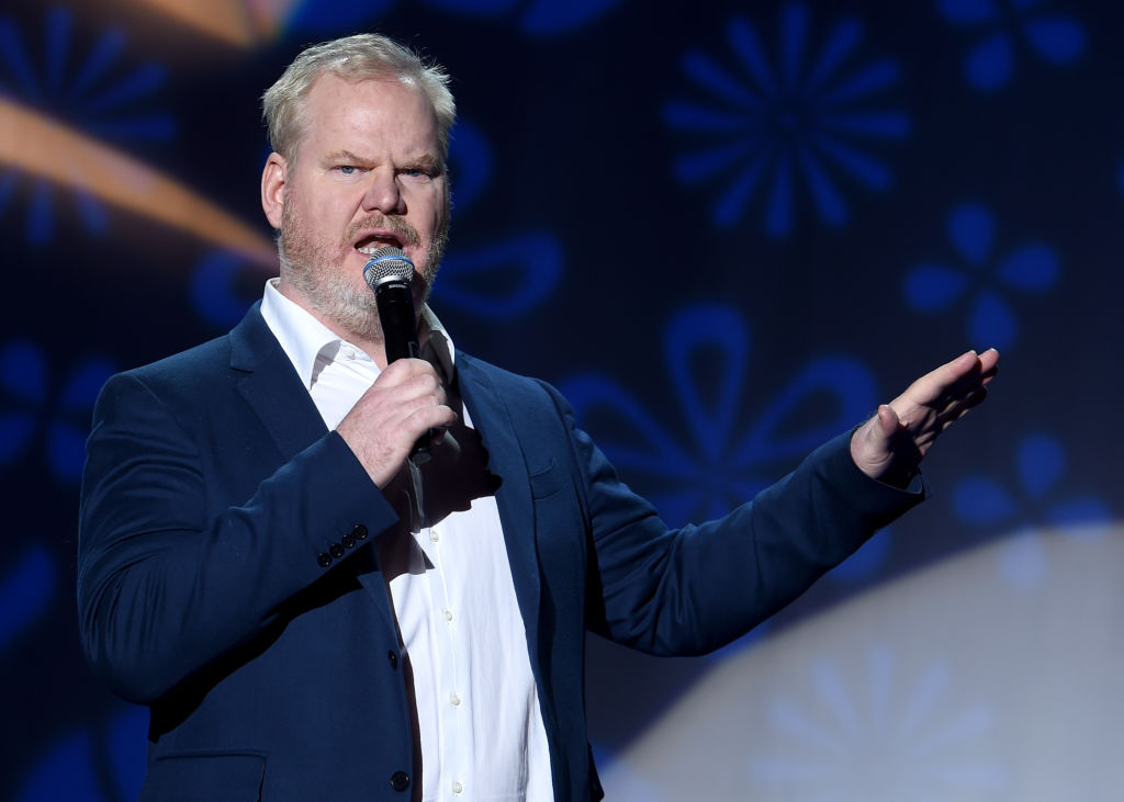 Jim Gaffigan performs on stage at A Funny Thing Happened On The Way To Cure Parkinson's benefitting The Michael J. Fox Foundation at the Hilton New York on November 10, 2018. (Photo by Jamie McCarthy/Getty Images)