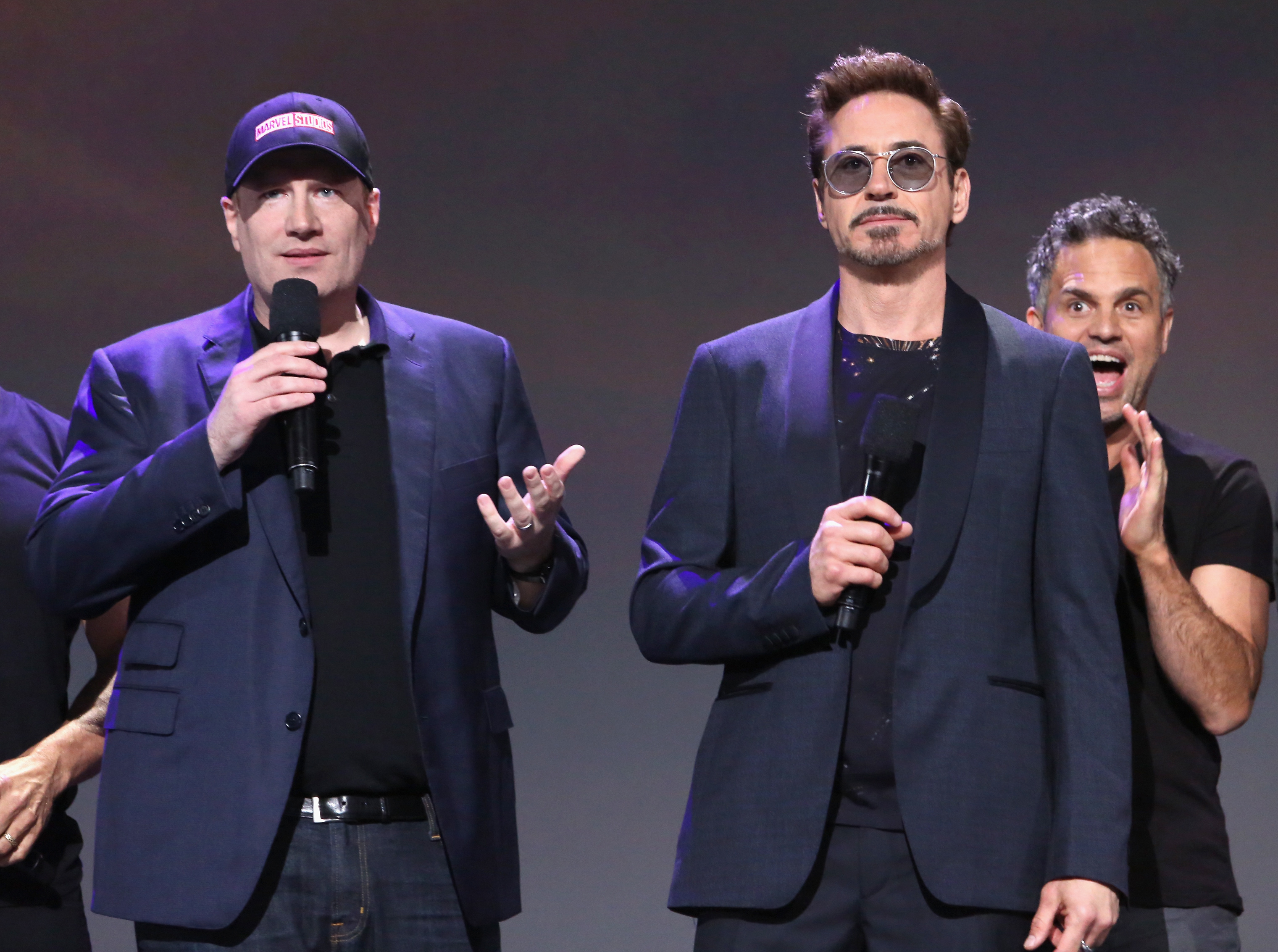 (L-R) Producer Kevin Feige, actors Robert Downey Jr. and Mark Ruffalo of AVENGERS: INFINITY WAR took part today in the Walt Disney Studios live action presentation at Disney's D23 EXPO 2017 in Anaheim, Calif. AVENGERS: INFINITY WAR will be released in U.S. theaters on May 4, 2018.