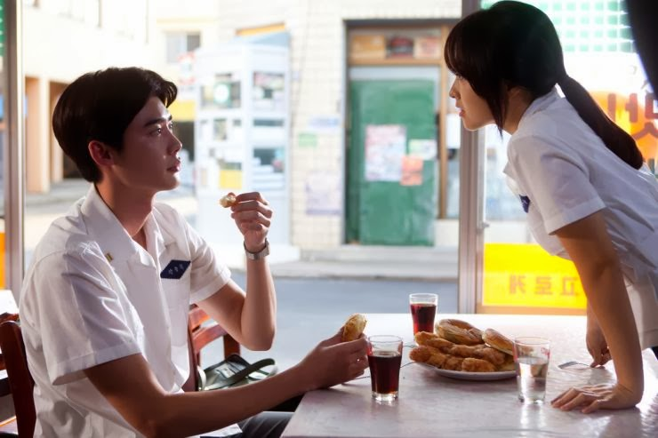 A still from the film 'Hot Young Bloods' featuring Lee Jong-suk and Park Bo-young.