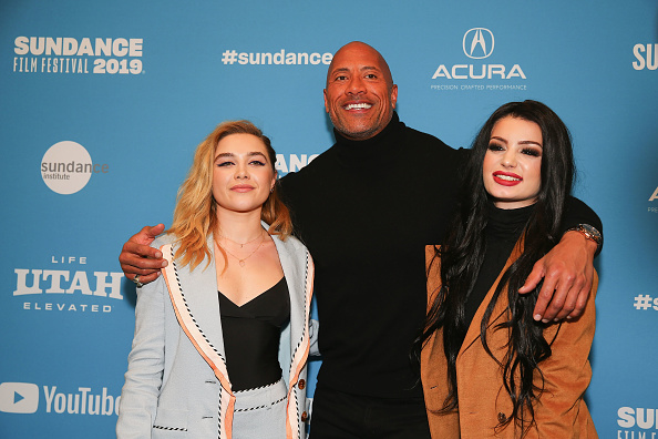 Florence Pugh, actor and producer Dwayne Johnson and Paige (Source: Getty Images)