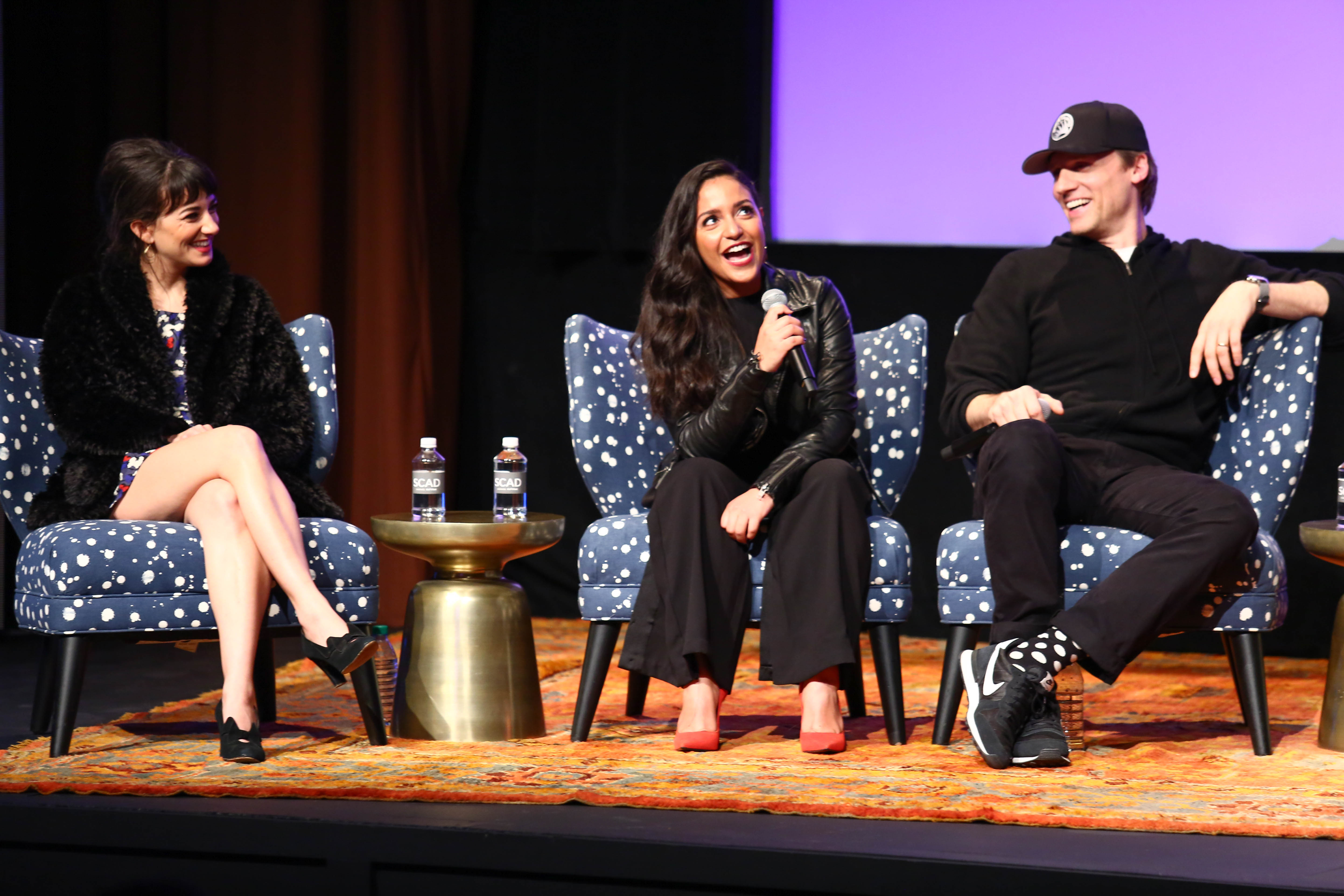 Actress Sheila Vand, Actress Coral Peña, and actor Teddy Sears speak at a Q&A for '24: Legacy' during Day One of the aTVfest 2017 presented by SCAD on February 2, 2017, in Atlanta, Georgia. (Photo by Astrid Stawiarz/Getty Images)