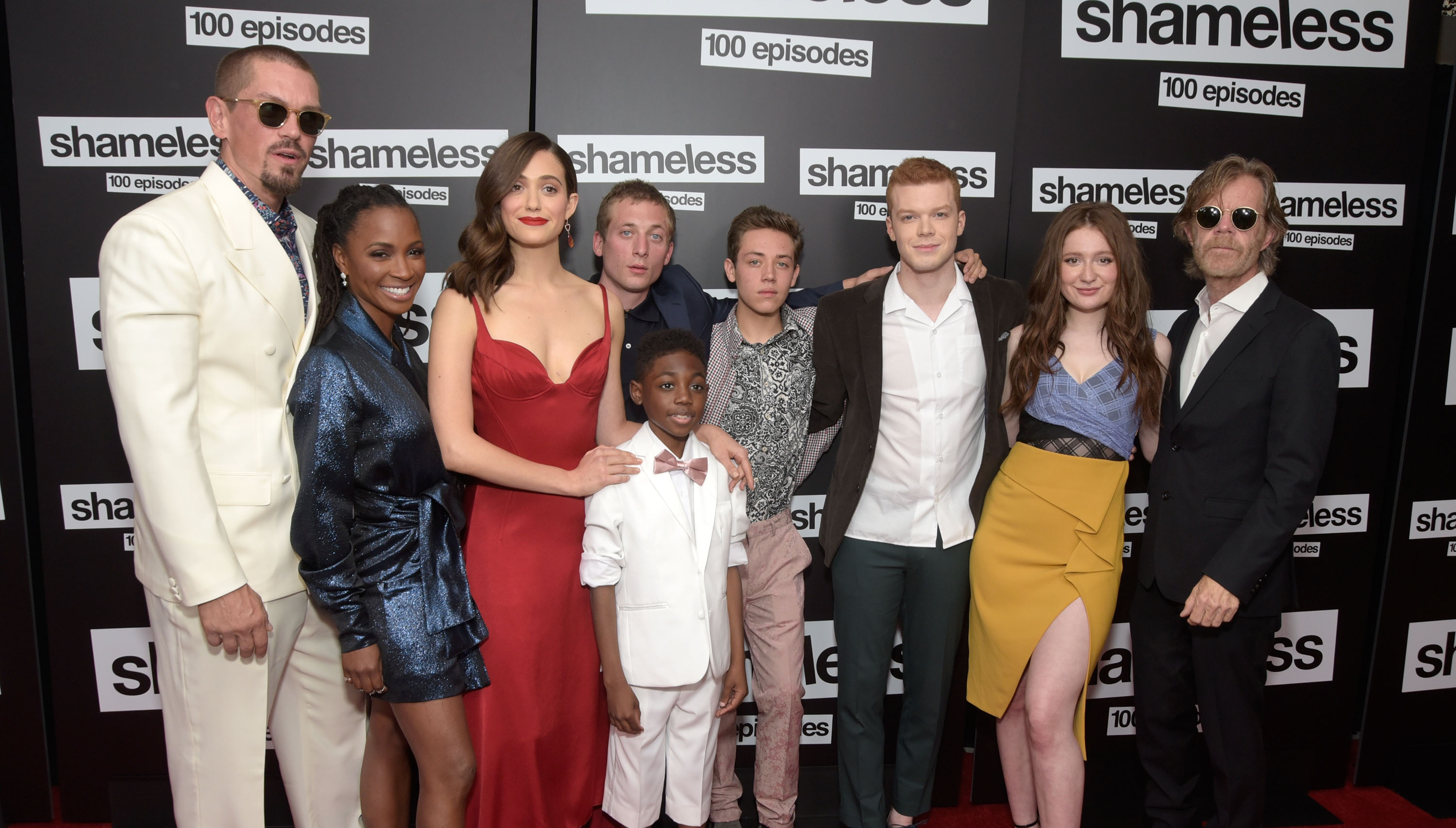 (L - R) Steve Howey, Shanola Hampton, Emmy Rossum, Jeremy Allen White, Christian Isaiah, Ethan Cutkowsky, Cameron Monaghan, Emma Kenney and William H. Macy attend the celebration of the 100th episode of Showtime's 'Shameless' at DREAM Hollywood on June 9, 2018 in Hollywood, California.