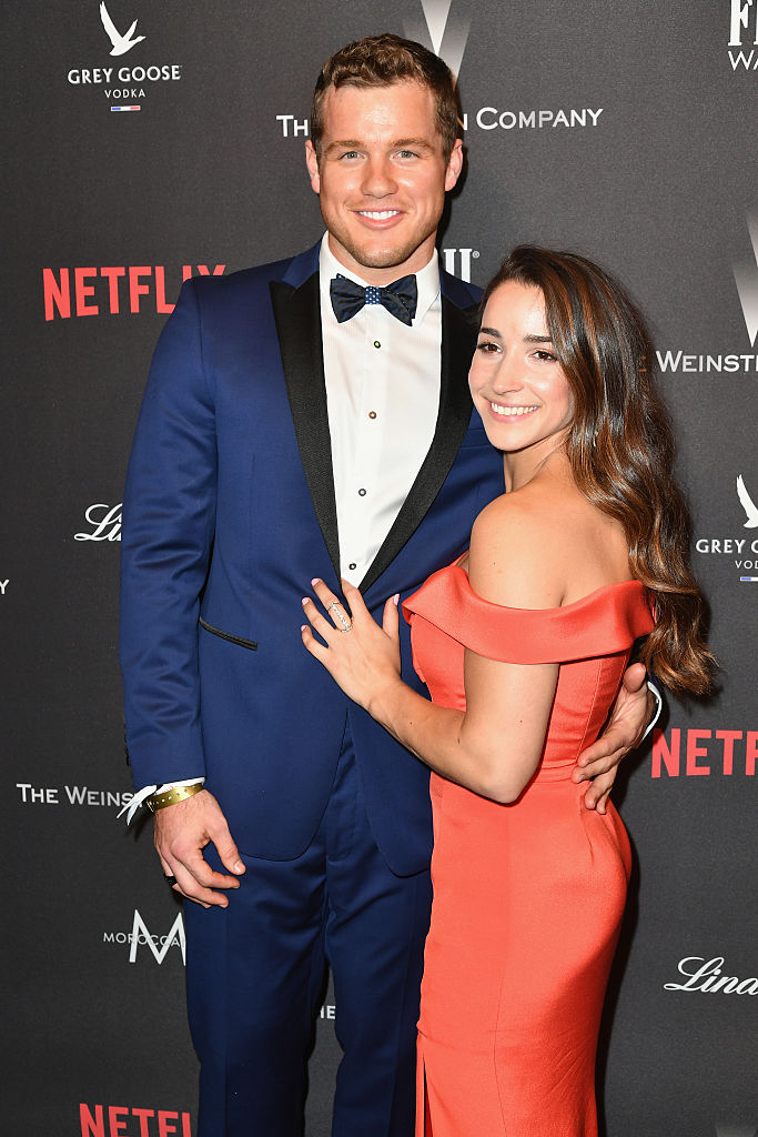 NFL player Colton Underwood and Olympic gymnast Aly Raisman attend The Weinstein Company and Netflix Golden Globe Party, presented with FIJI Water, Grey Goose Vodka, Lindt Chocolate, and Moroccanoil at The Beverly Hilton Hotel on January 8, 2017 in Beverly Hills, California. (Photo by Earl Gibson III/Getty Images)