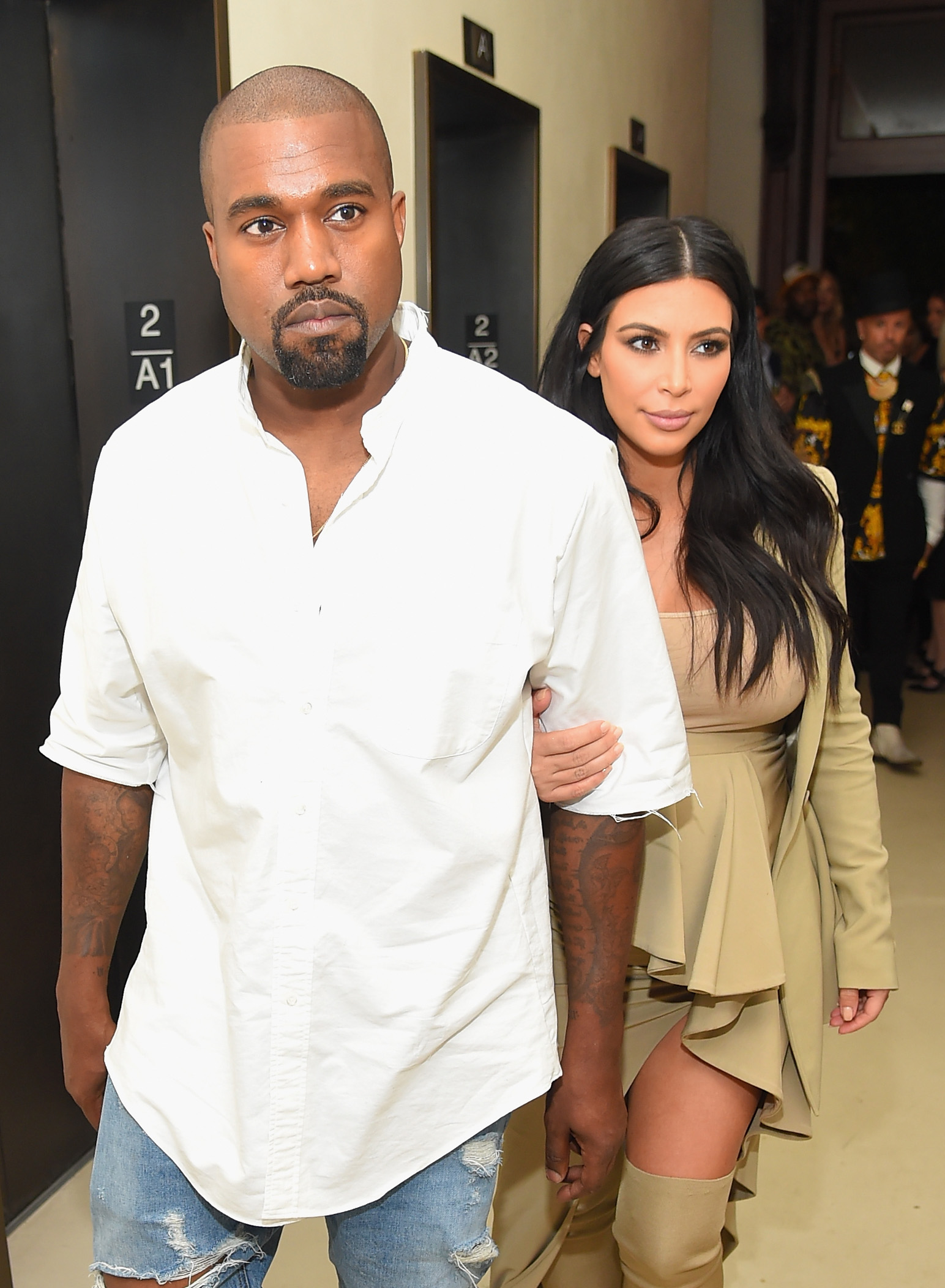 Kanye West and Kim Kardashian-West attend the Rihanna Party at The New York Edition on September 10, 2015, in New York City. (Getty Images)