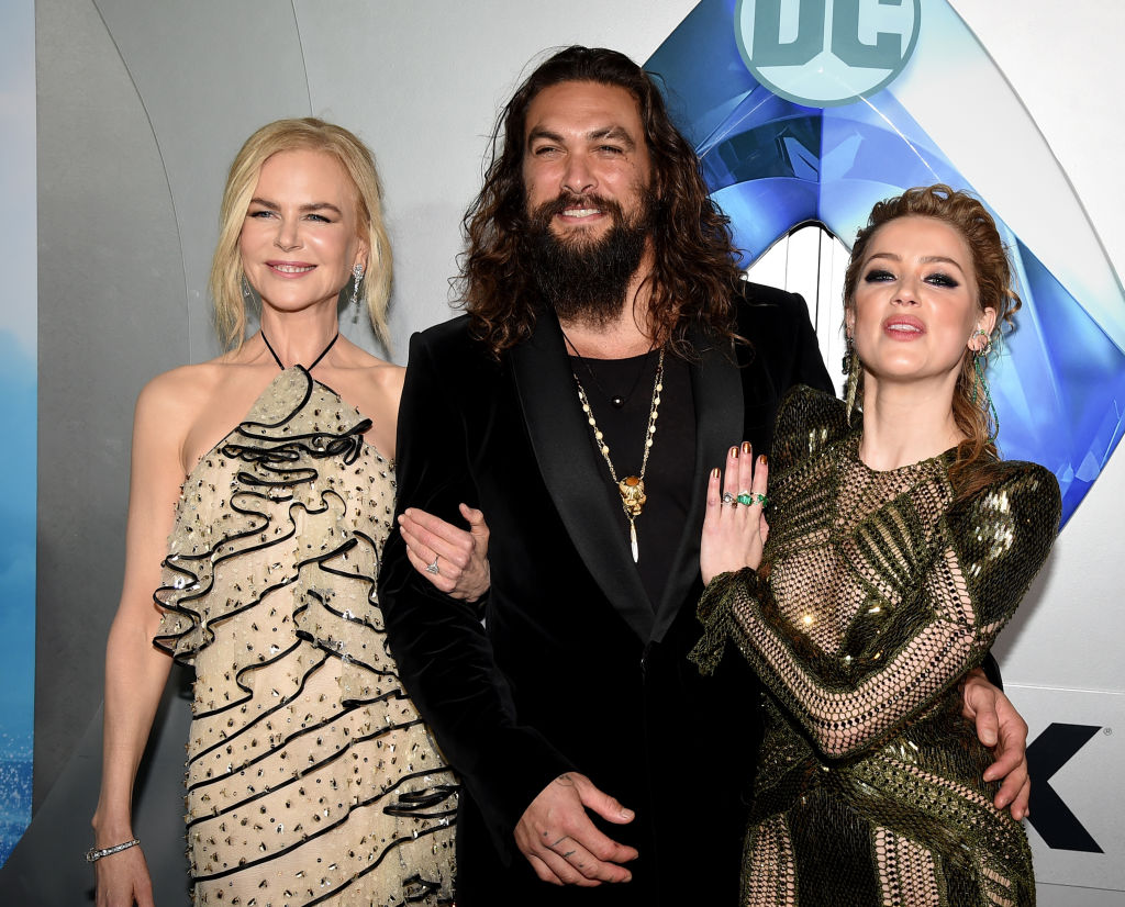 Nicole Kidman, Jason Momoa, and Amber Heard arrive at the premiere of Warner Bros. Pictures' 'Aquaman' at the Chinese Theatre on December 12, 2018, in Los Angeles, California. (Photo by Kevin Winter/Getty Images)