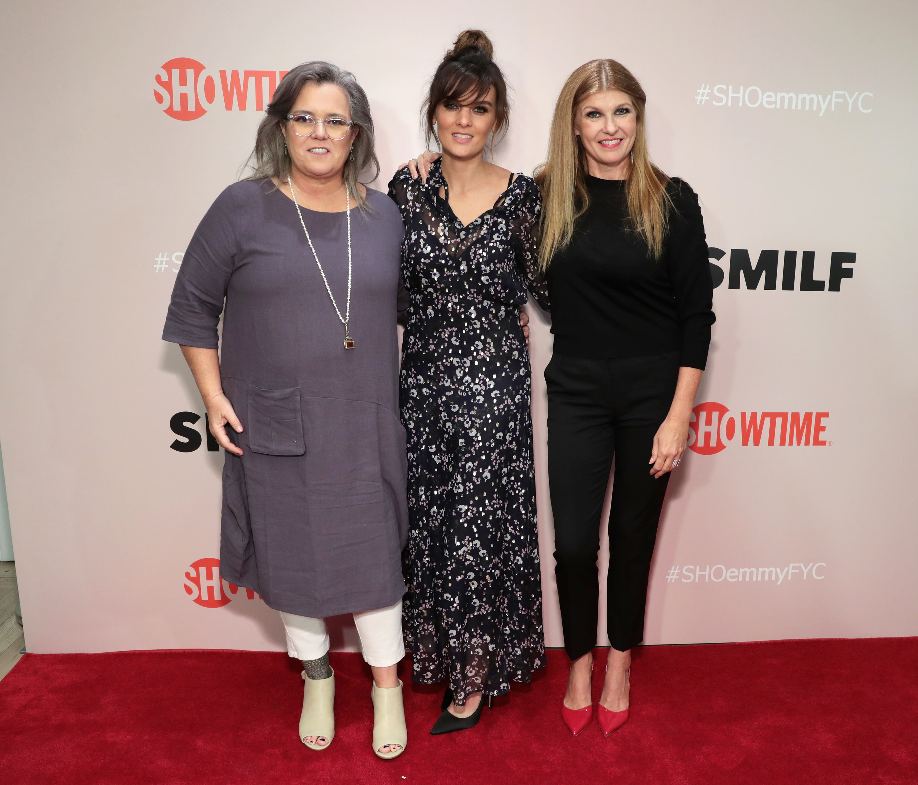 Actresses Rosie O'Donnell, Frankie Shaw and Connie Britton attend the Showtime Emmy FYC Screening of SMILF at The Whitney Museum on May 8, 2018 in New York City.
