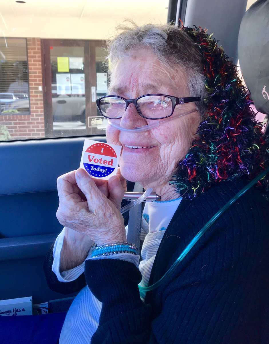 "Phillips can be seen beaming with excitement in a video taken after she cast her first ballot, proudly holding her ""I Voted Today"" sticker. (Twitter)"