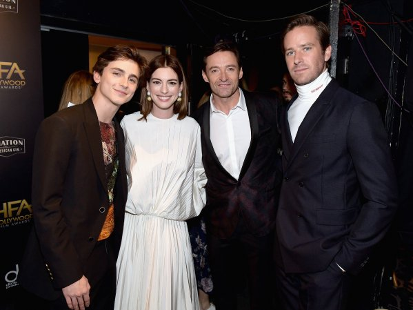 Timothee Chalamet, Anne Hathaway, Hugh Jackman, and Armie Hammer attend the 22nd Annual Hollywood Film Awards. (Getty Images)