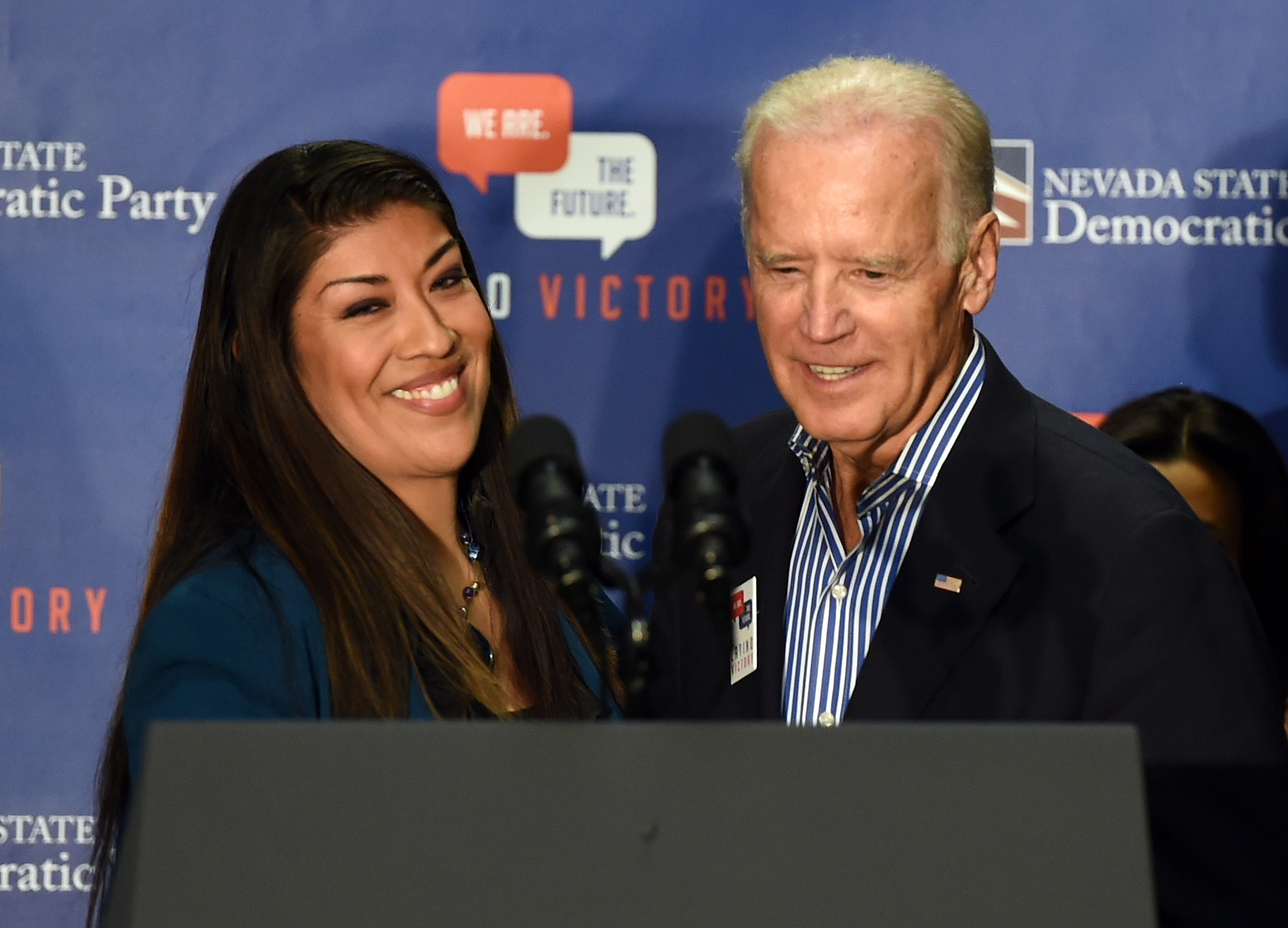 Democratic candidate for lieutenant governor and current Nevada Assemblywoman Lucy Flores (D-Las Vegas) (L) introduces U.S. Vice President Joe Biden at a get-out-the-vote rally at a union hall on November 1, 2014 in Las Vegas, Nevada. (Getty Images)