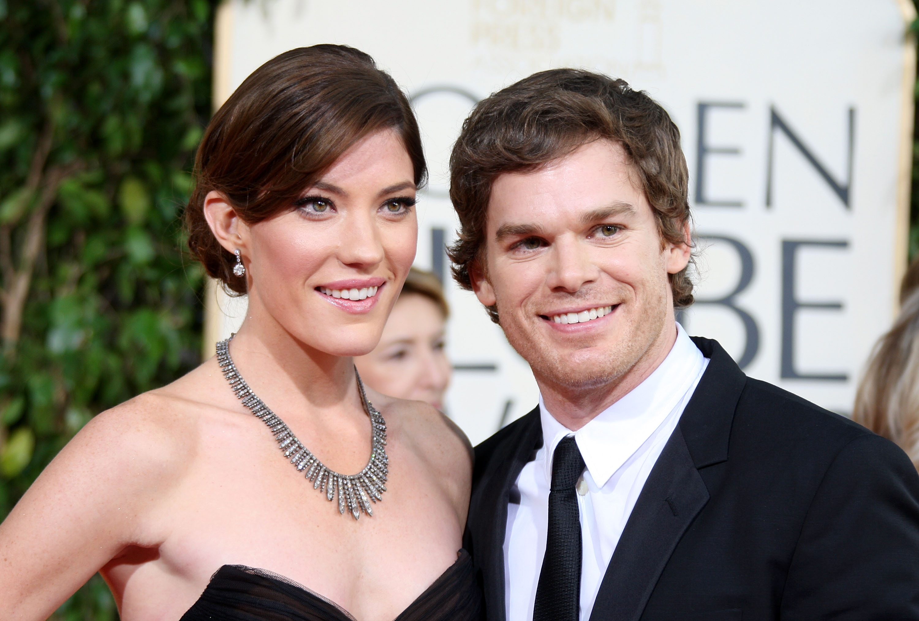 Actors Jennifer Carpenter and Michael C. Hall arrive at the 66th Annual Golden Globe Awards held at the Beverly Hilton Hotel on January 11, 2009, in Beverly Hills, California. (Photo by Frazer Harrison/Getty Images)