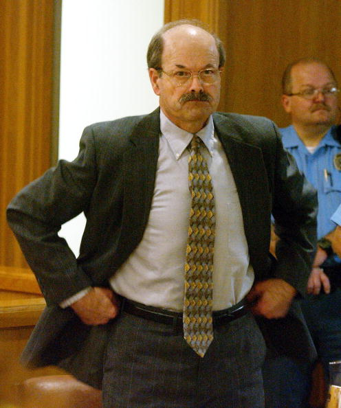 Dennis Rader in court on the first day of his sentencing at the Sedgwick County Courthouse August 17, 2005, in Wichita, Kansas. Rader, of Park City, Kansas, pleaded guilty to 10 killings dating back to 1974 (Getty Images)