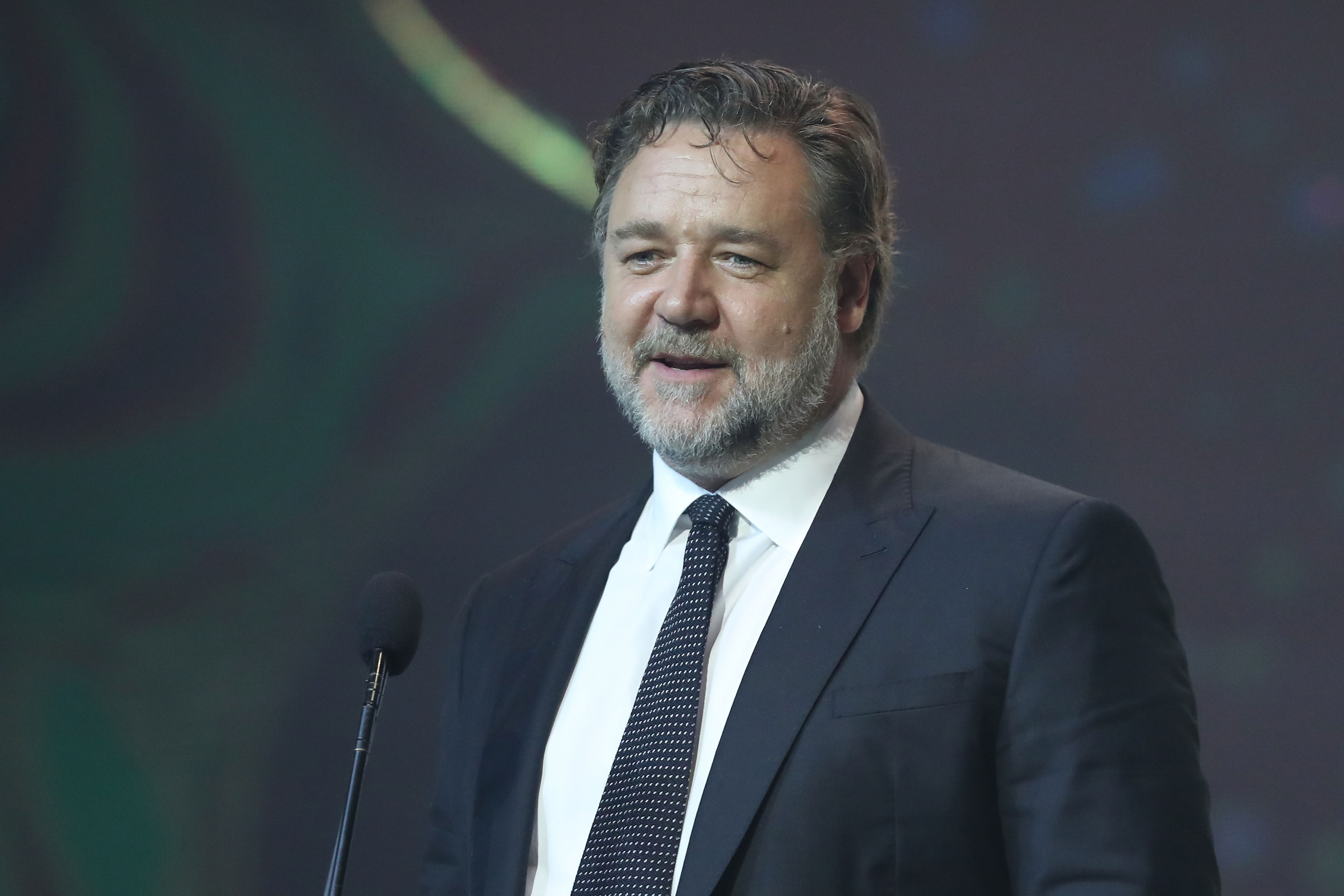 Russell Crowe presents the AACTA Award for Best Asian Film Presented By PR Asia during the 7th AACTA Awards Presented by Foxtel | Ceremony at The Star on December 6, 2017 in Sydney, Australia.