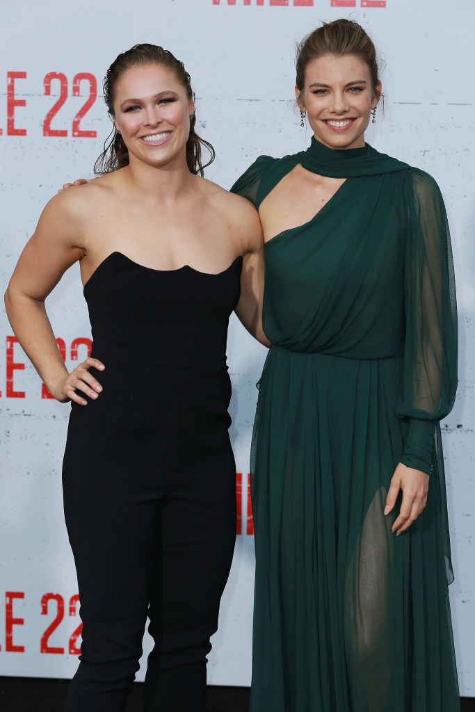 Ronda Rousey and Lauren Cohan attend the Premiere Of STX Films' 'Mile 22' at Westwood Village Theatre on August 9, 2018 in Westwood, California. (Photo by Leon Bennett/Getty Images)