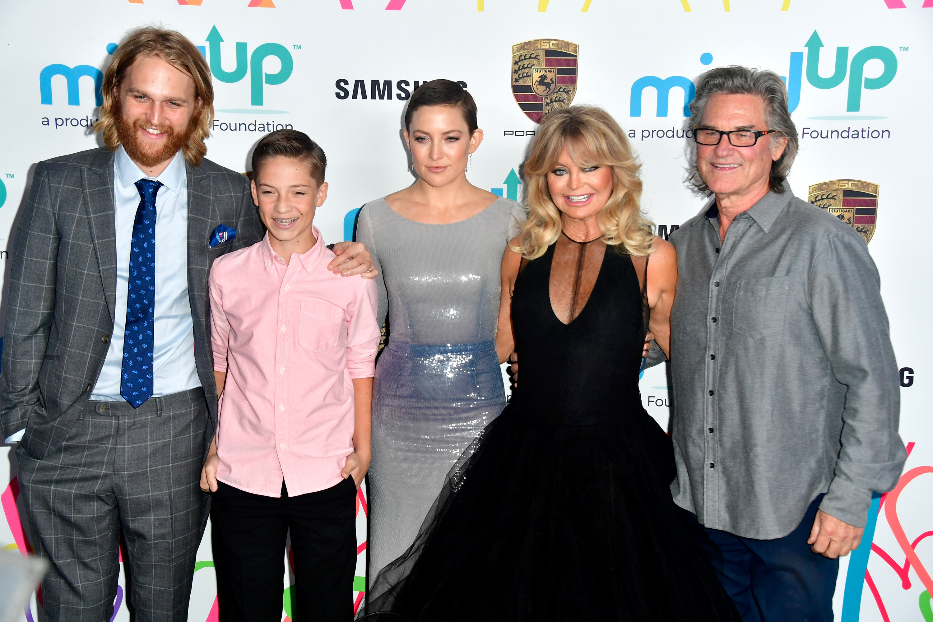 (L-R) Wyatt Russell, Ryder Robinson, Kate Hudson, Goldie Hawn and Kurt Russell attend Goldie's Love In For Kids at Ron Burkle's Green Acres Estate on November 3, 2017 in Beverly Hills, California.