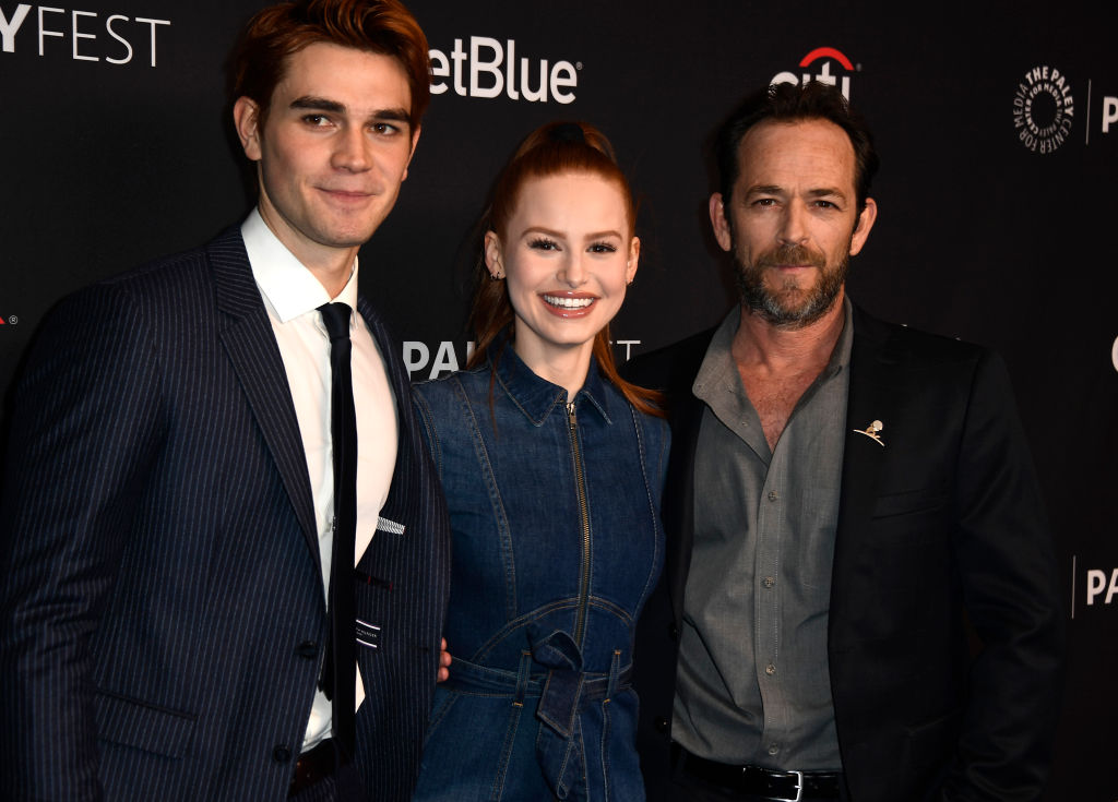 KJ Apa, Madelaine Petsch, Luke Perry attends The Paley Center For Media's 35th Annual PaleyFest Los Angeles - 'Riverdale' at Dolby Theatre on March 25, 2018 in Hollywood, California. (Photo by Frazer Harrison/Getty Images)