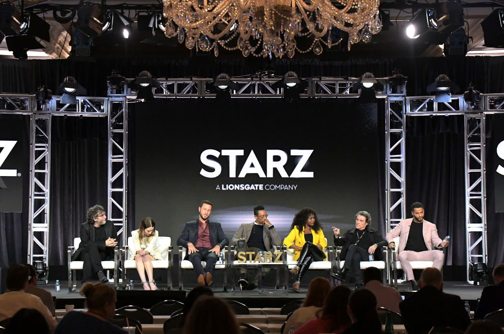 Neil Gaiman, Emily Browning, Pablo Schreiber, Orlando Jones, Yetide Badaki, Ian McShane and Ricky Whittle of 'American Gods' at Starz 2019 Winter TCA Panel & All-Star After Party. (Source: Getty Images)