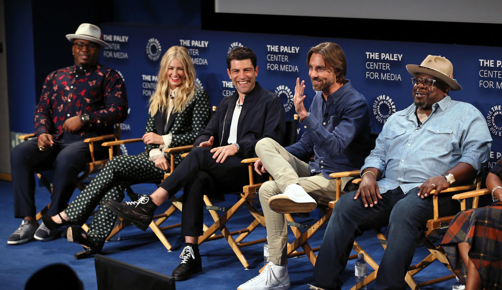 (L-R) Marcel Spears, Beth Behrs, Max Greenfield, Jim Reynolds and Cedric the Entertainer from 'The Neighborhood' appear on stage at The Paley Center for Media's 2018 PaleyFest Fall TV Previews - CBS at The Paley Center for Media on September 12, 2018 in Beverly Hills, California. (Photo by David Livingston/Getty Images)