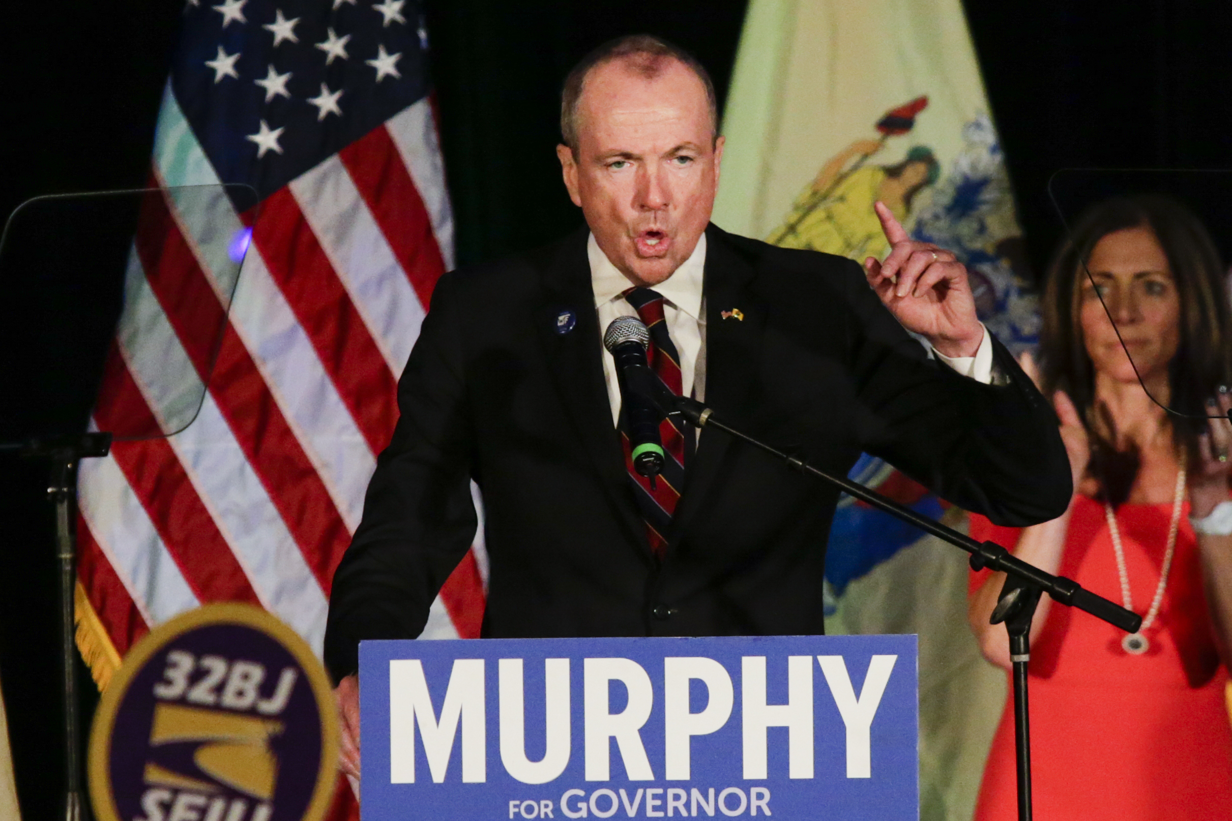 New Jersey Gov.-elect Phil Murphy speaks at an election night rally on November 7, 2017, in Asbury Park, New Jersey. Murphy was projected an early winner over Republican Lt. Gov. Kim Guadagno. (Getty Images)