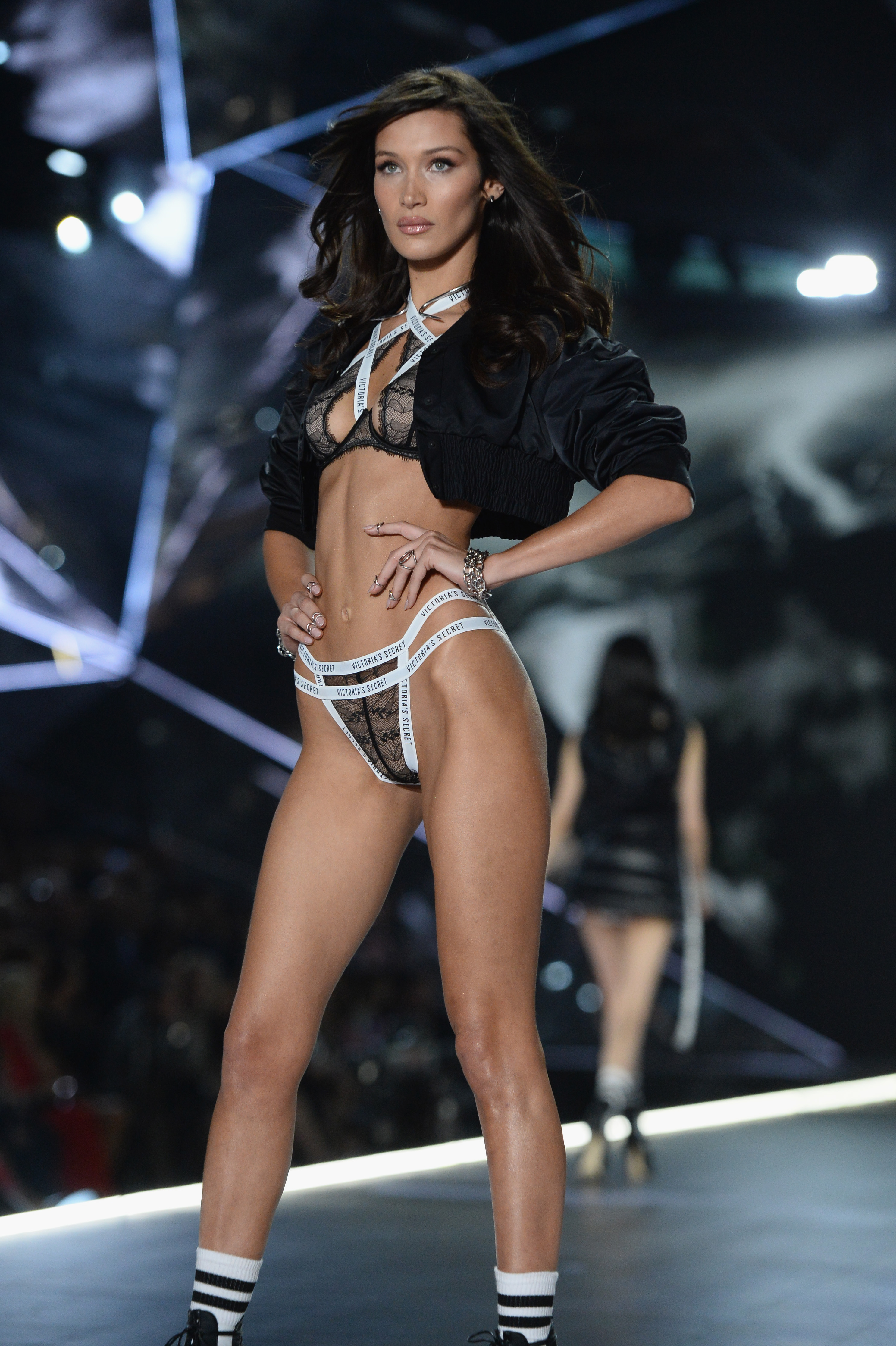 Bella Hadid walks the runway during the 2018 Victoria's Secret Fashion Show at Pier 94 on November 08, 2018, in New York City. (Getty Images)