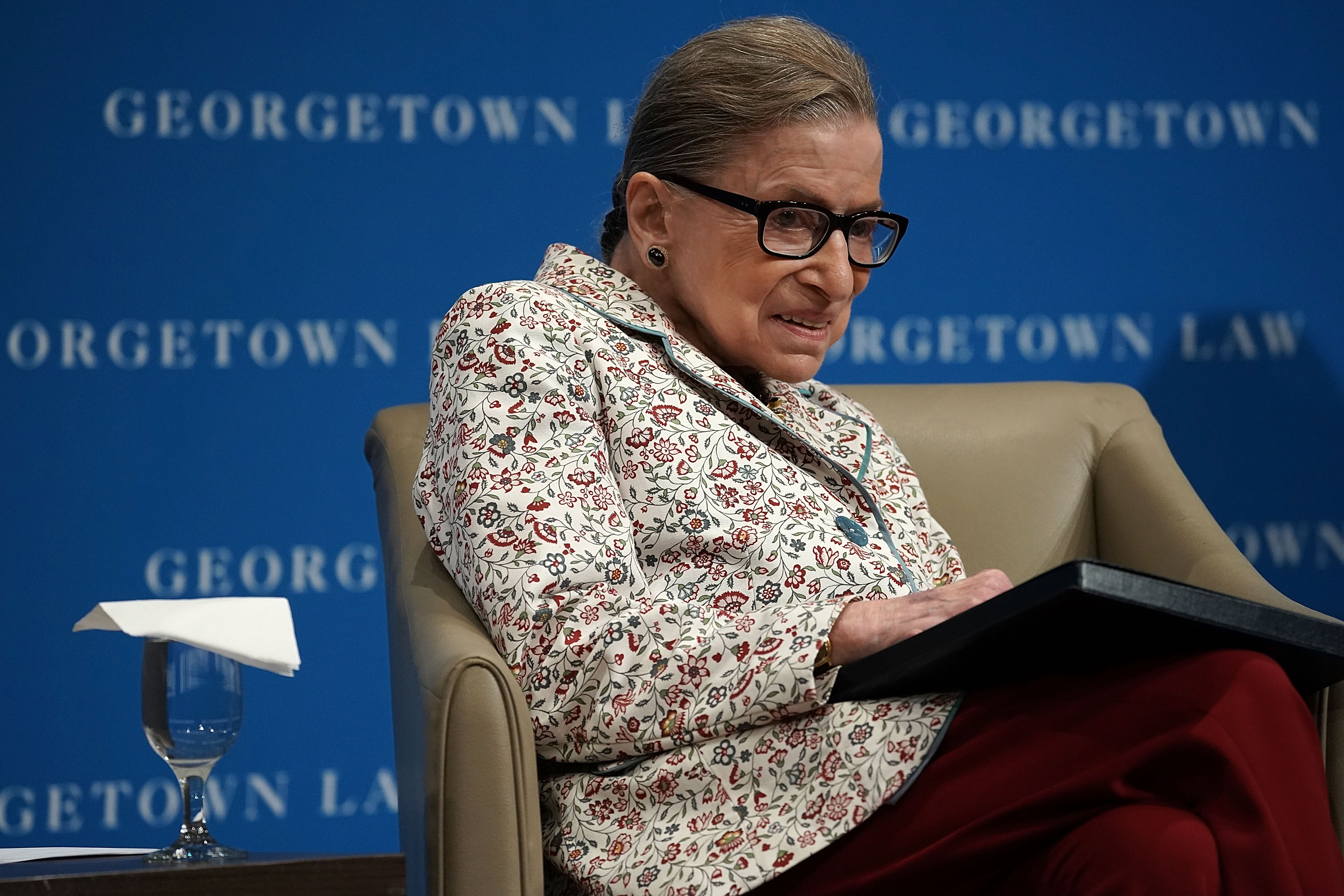 U.S. Supreme Court Justice Ruth Bader Ginsburg participates in a lecture September 26, 2018 at Georgetown University Law Center in Washington, DC. Justice Ginsburg discussed Supreme Court cases from the 2017-2018 term at the lecture. (Getty Images)