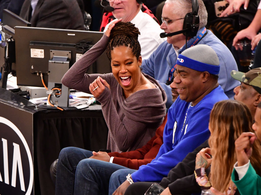 Regina King and Tracy Morgan attend Philadelphia 76ers v New York Knicks game at Madison Square Garden on February 13, 2019 in New York City. (Photo by James Devaney/Getty Images)