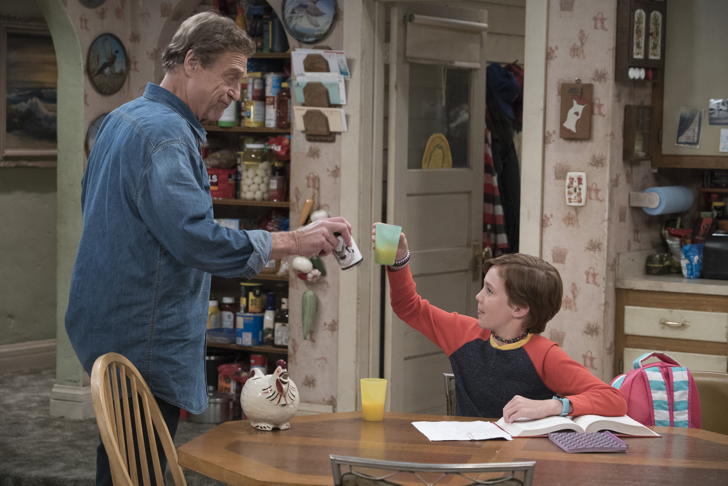 A still from 'The Conners' premiere episode 'Keep on Truckin''. In this photo: John Goodman and Ames McNamara. (Photo Credit: American Broadcasting Companies, Inc)