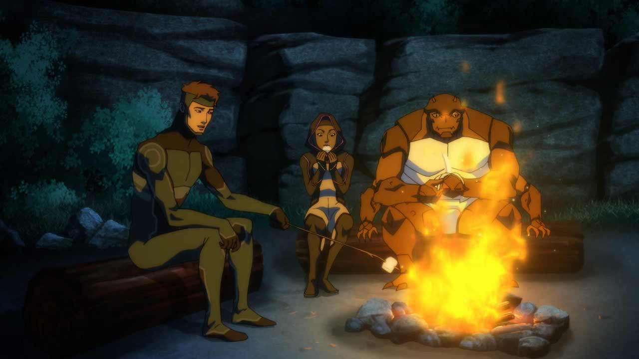 Prince Brion (Geo-Force), Halo & Forager enjoying smores around a campfire in 'Young Justice: Outsiders' Source: IMDB