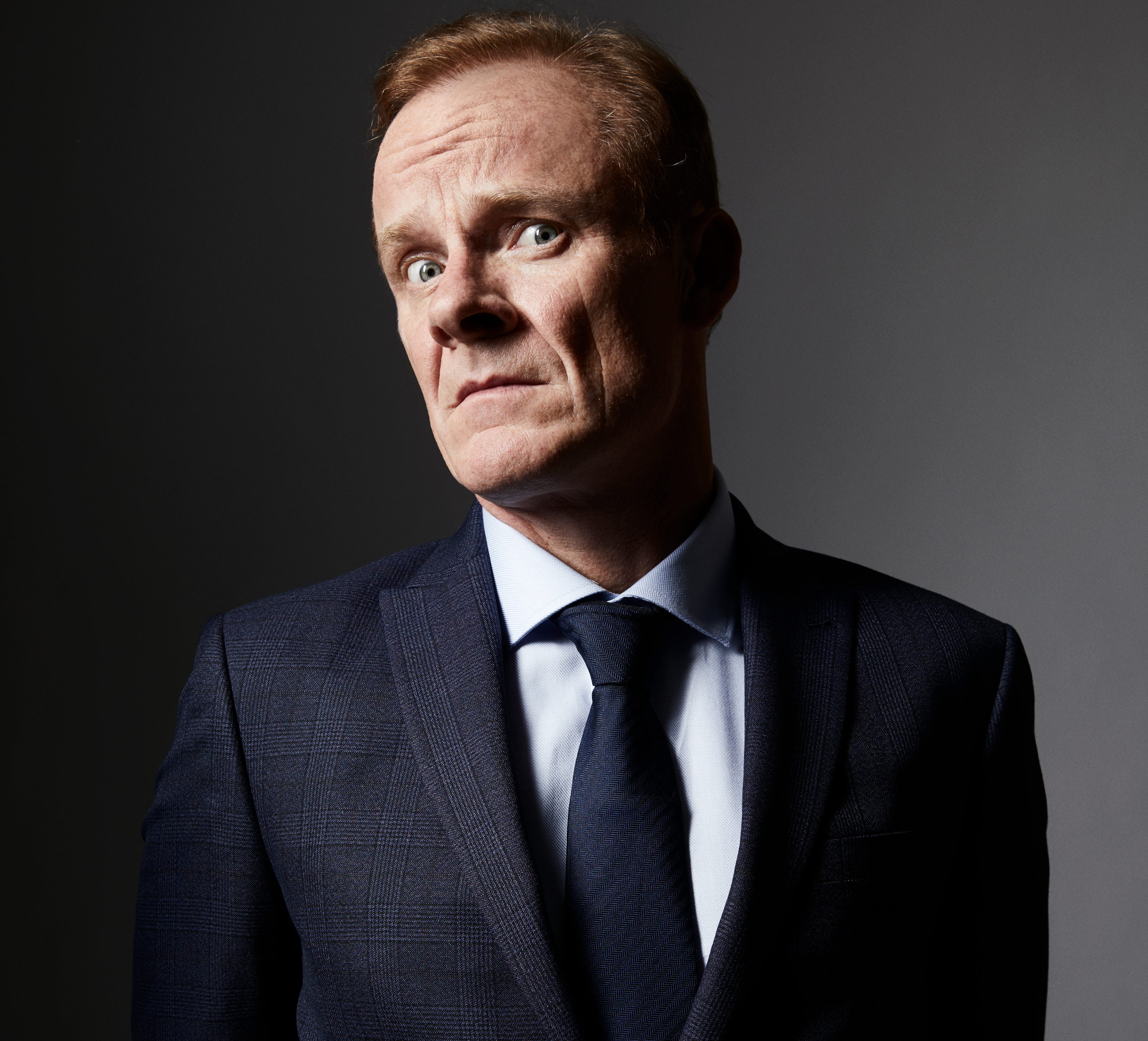 Alistair Petrie plays Mr. Groff aka Mr. G, the headmaster of Moordale, the school where 'Sex Education' is set. (Photographer: David Reiss)