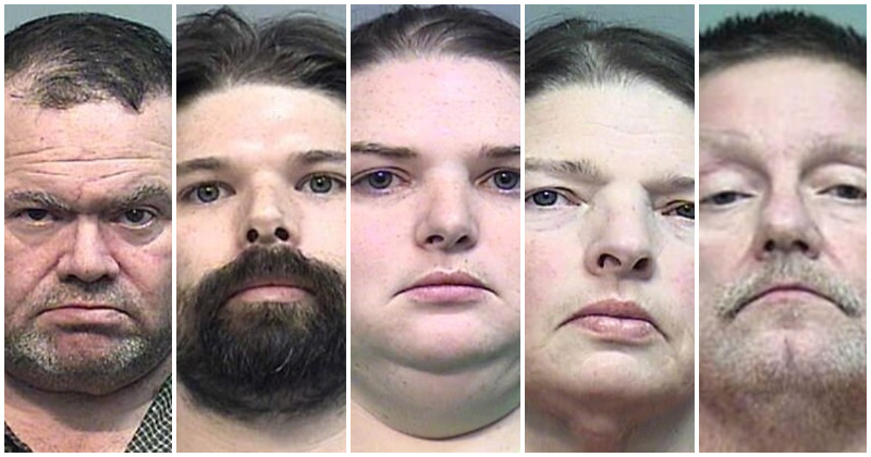 From L to R: Elwyn Crocker Sr., Mark Wright, Candice Crocker, Kim Wright, Roy Anthony Prater (Source: Effingham County Sheriff's Office)