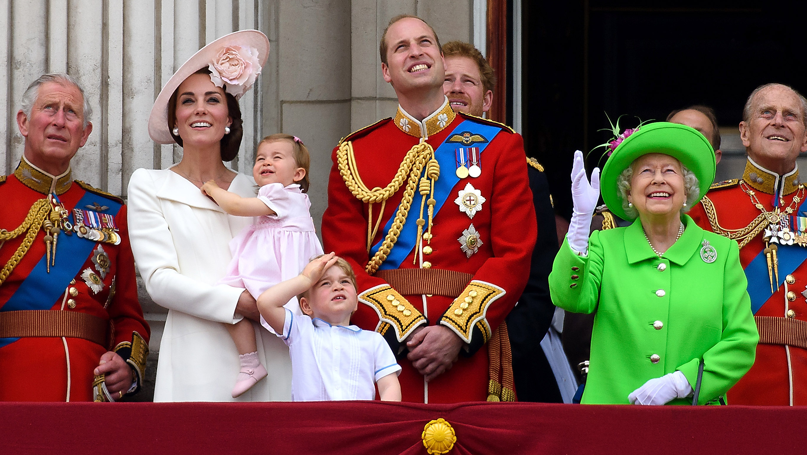 (L-R) Prince Charles, Prince of Wales, Catherine, Duchess of Cambridge, Princess Charlotte, Prince George, Prince William, Duke of Cambridge, Prince Harry, Queen Elizabeth II and Prince Philip, Duke of Edinburgh stand on the balcony during the Trooping the Colour, this year marking the Queen's 90th birthday at The Mall on June 11, 2016 in London, England. The ceremony is Queen Elizabeth II's annual birthday parade and dates back to the time of Charles II in the 17th Century when the Colours of a regiment were used as a rallying point in battle.