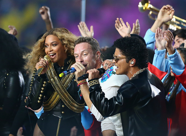 BeyonceŽ, Chris Martin of Coldplay and Bruno Mars perform during the Pepsi Super Bowl 50 Halftime Show. (Getty Images)