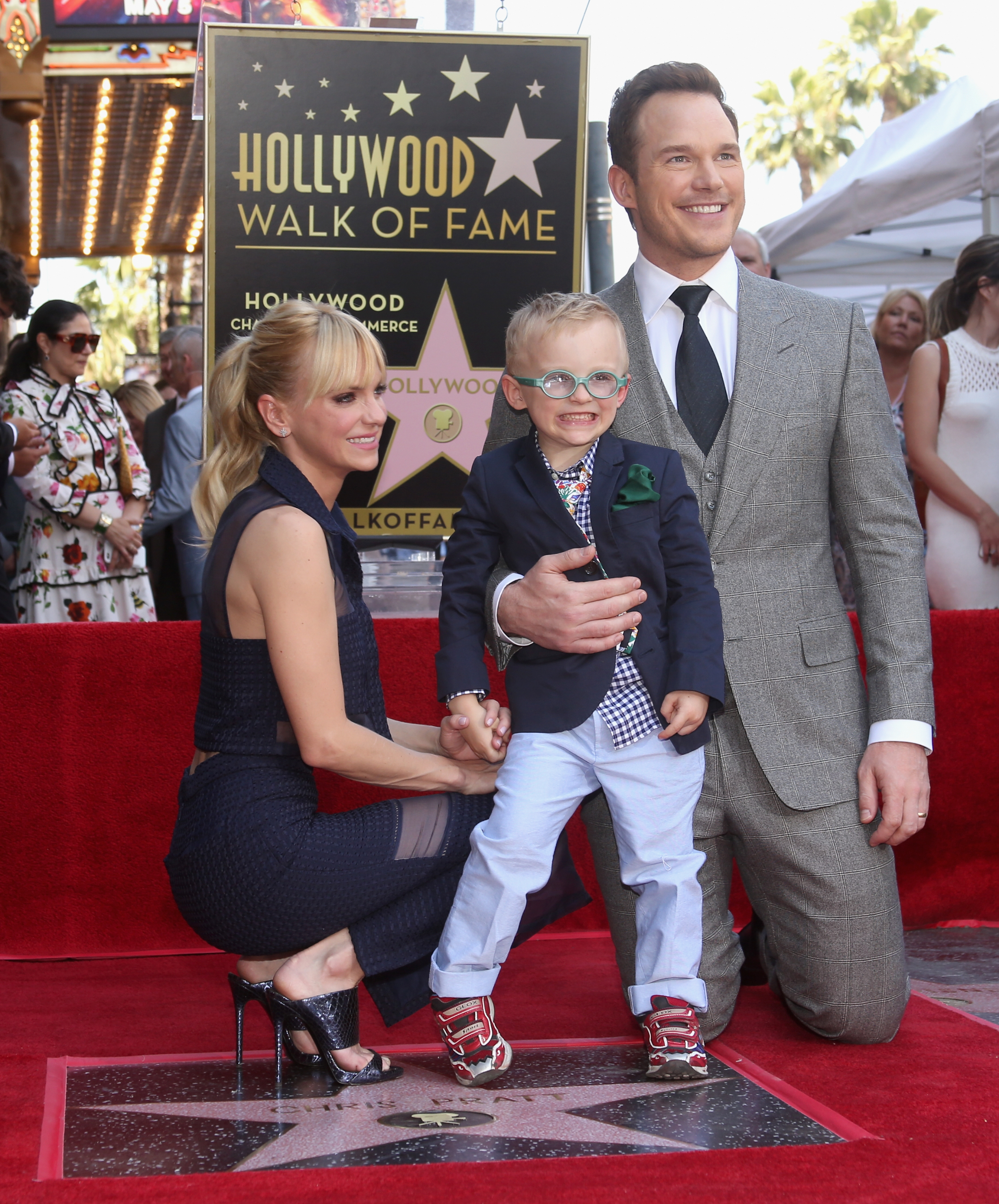(L-R) Actor Anna Faris, Jack Pratt and actor Chris Pratt at the Chris Pratt Walk Of Fame Star Ceremony on April 21, 2017 in Hollywood, California. (Source: Getty Images)