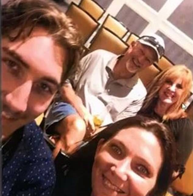 Precopia and his mother with another couple at the hotel in Northwest Austin 65 miles away from the unnamed ex-girlfriend on the night of the attack (YouTube/Facebook)