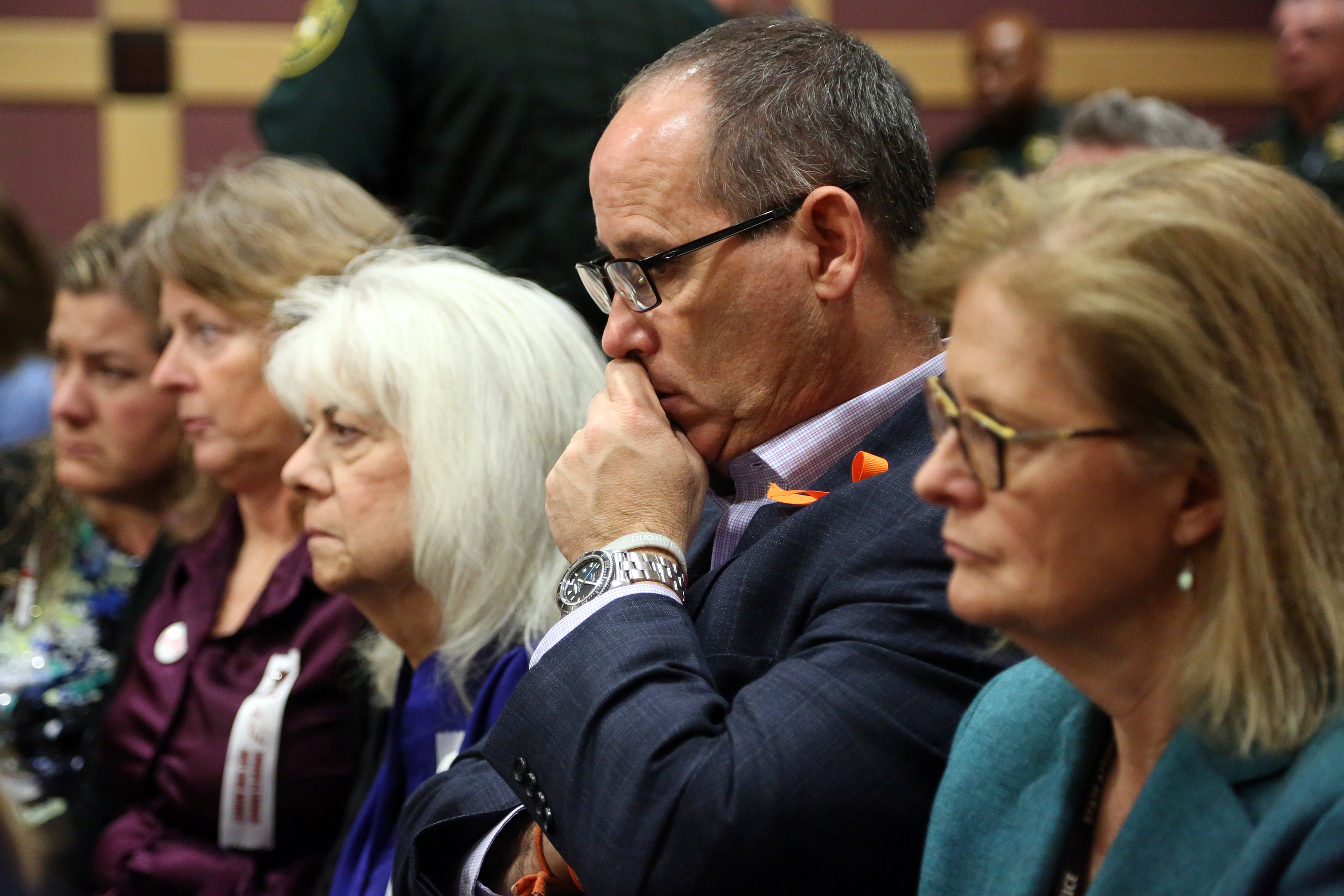 Fred Guttenberg listens to proceedings as Nikolas Cruz is arraigned at the Broward County Courthouse March 14, 2018 in in Fort Lauderdale, Florida. Cruz is accused of opening fire at Marjory Stoneman Douglas High School in Parkland on Feb. 14, killing 17 students and adults. Guttenberg's daughter, Jaime, was killed at the school. (Getty Images)