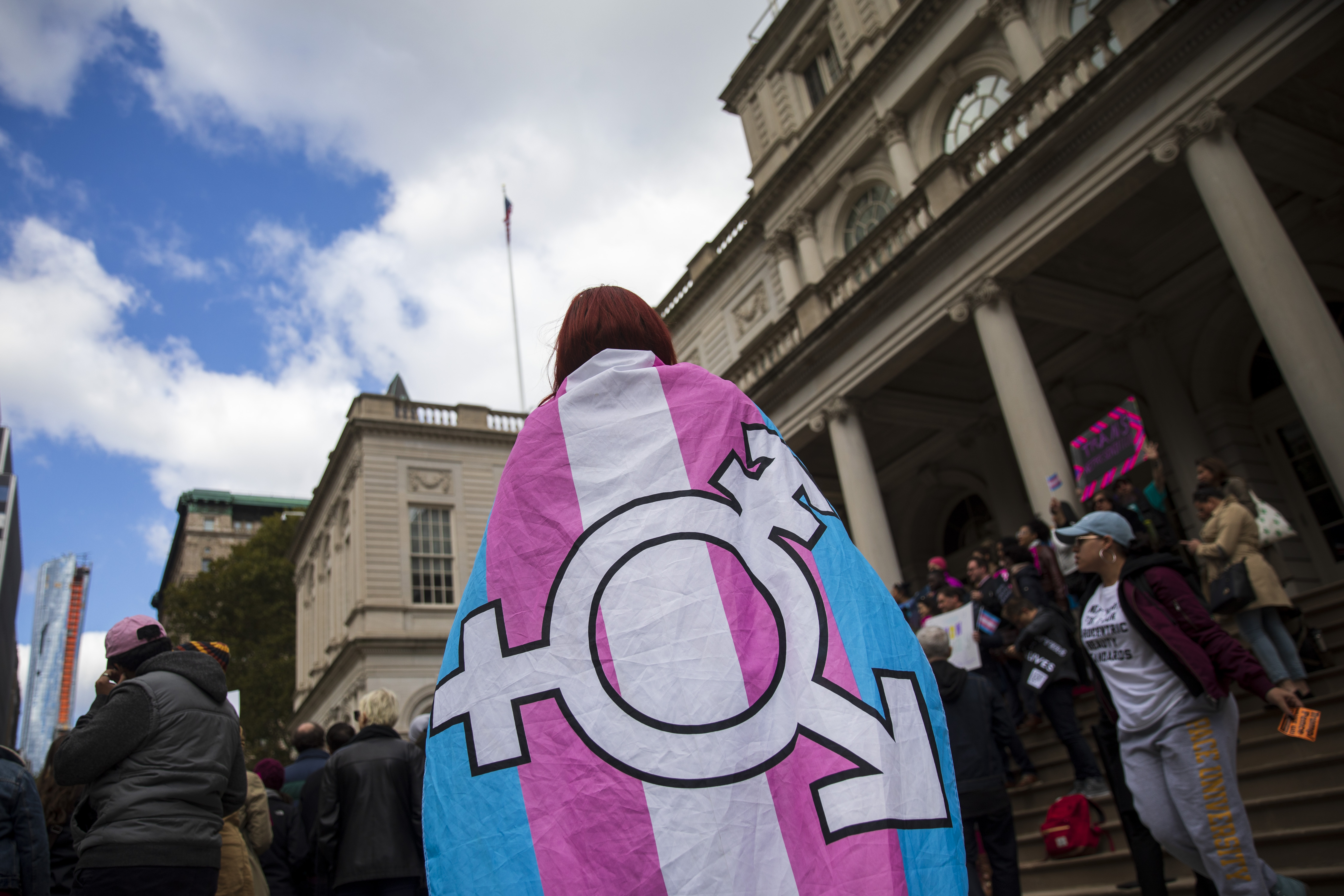 L.G.B.T. activists and their supporters rally in support of transgender people on the steps of New York City Hall, October 24, 2018 in New York City. (Getty Images)
